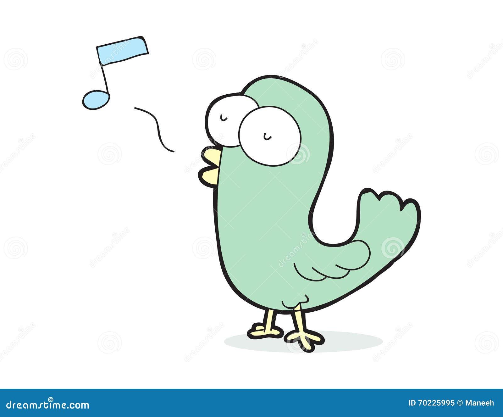 Netter singender vogel der karikatur vektor abbildung