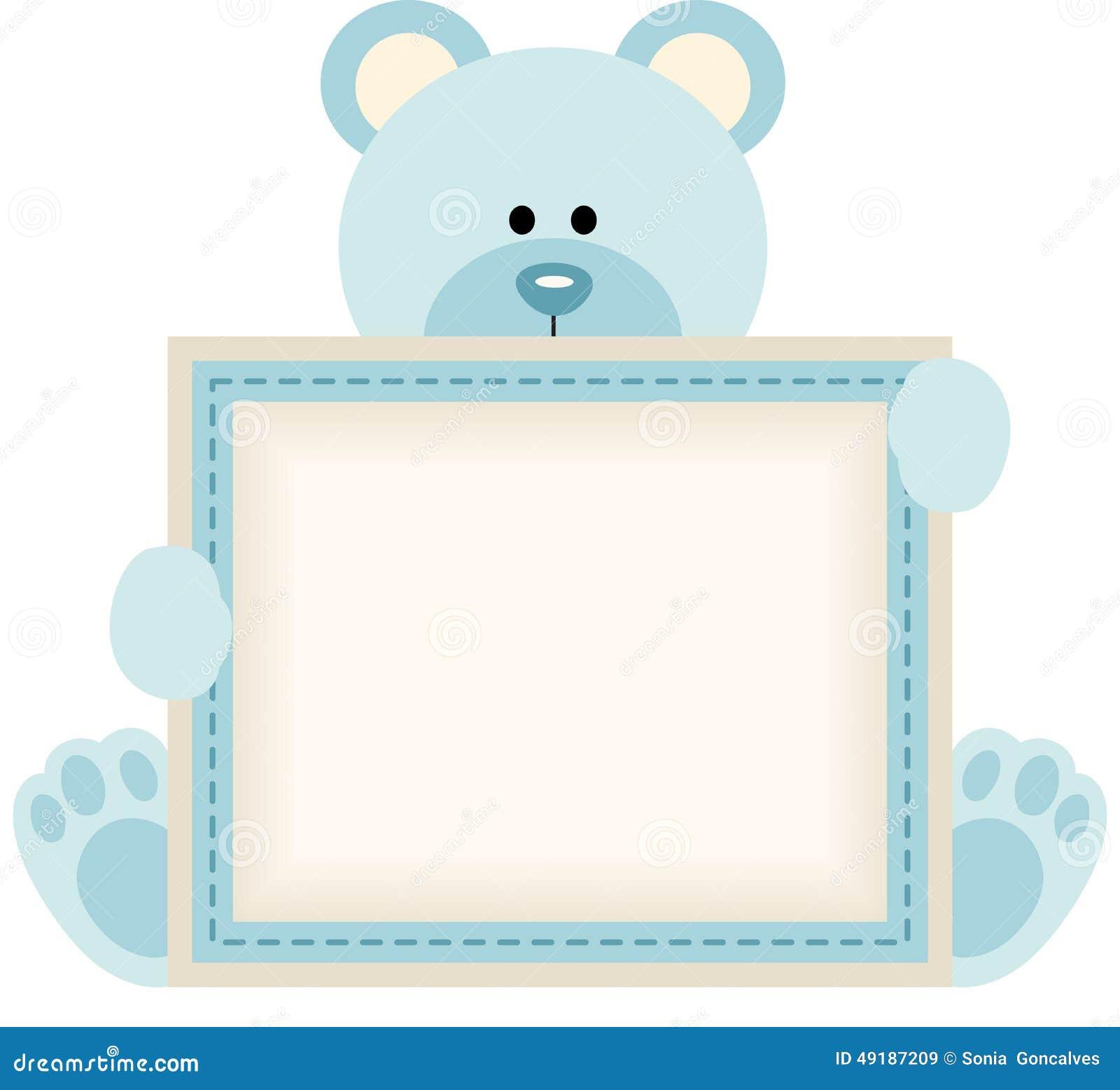 Netter Teddybär, der leeres Zeichen für Babymitteilung hält