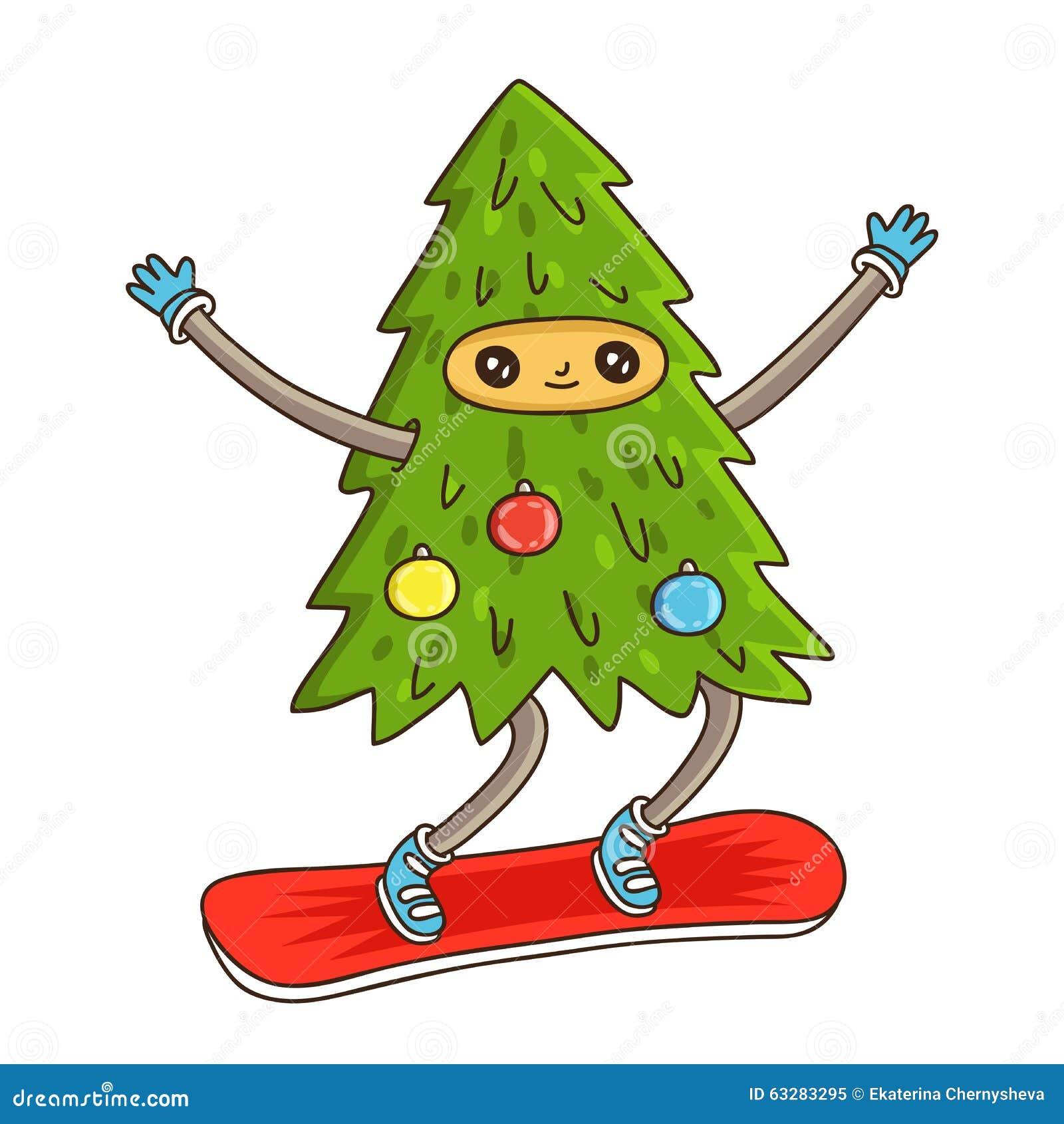 Netter Und Lustiger Weihnachtsbaum Vektor Abbildung - Illustration ...