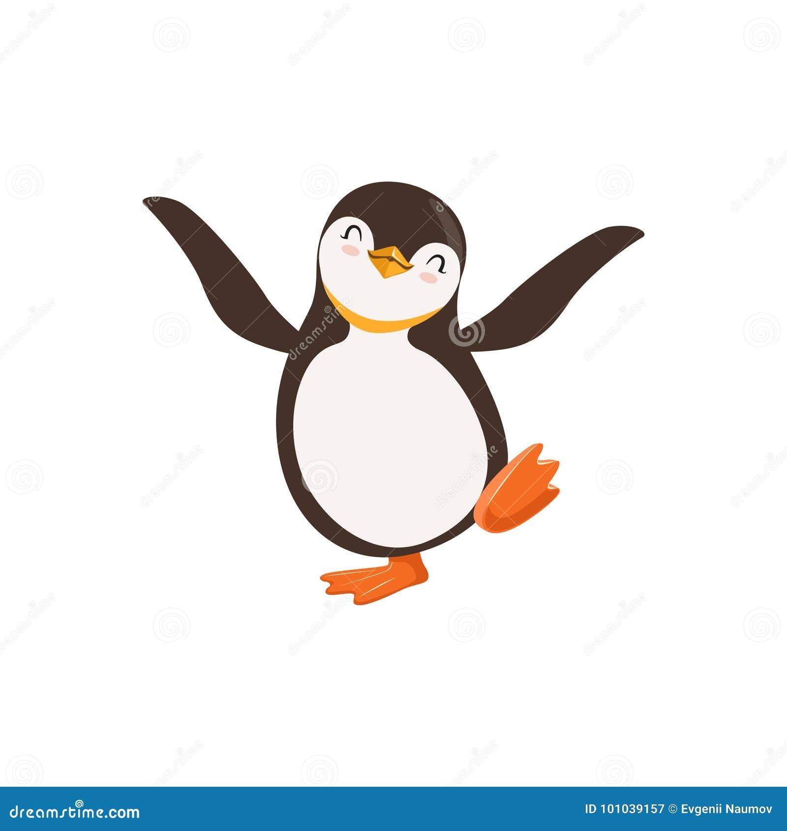 Netter Vektor schlossen glückliche Pinguin-Toon Character Dancing With Its-Augen auf einem weißen Hintergrund