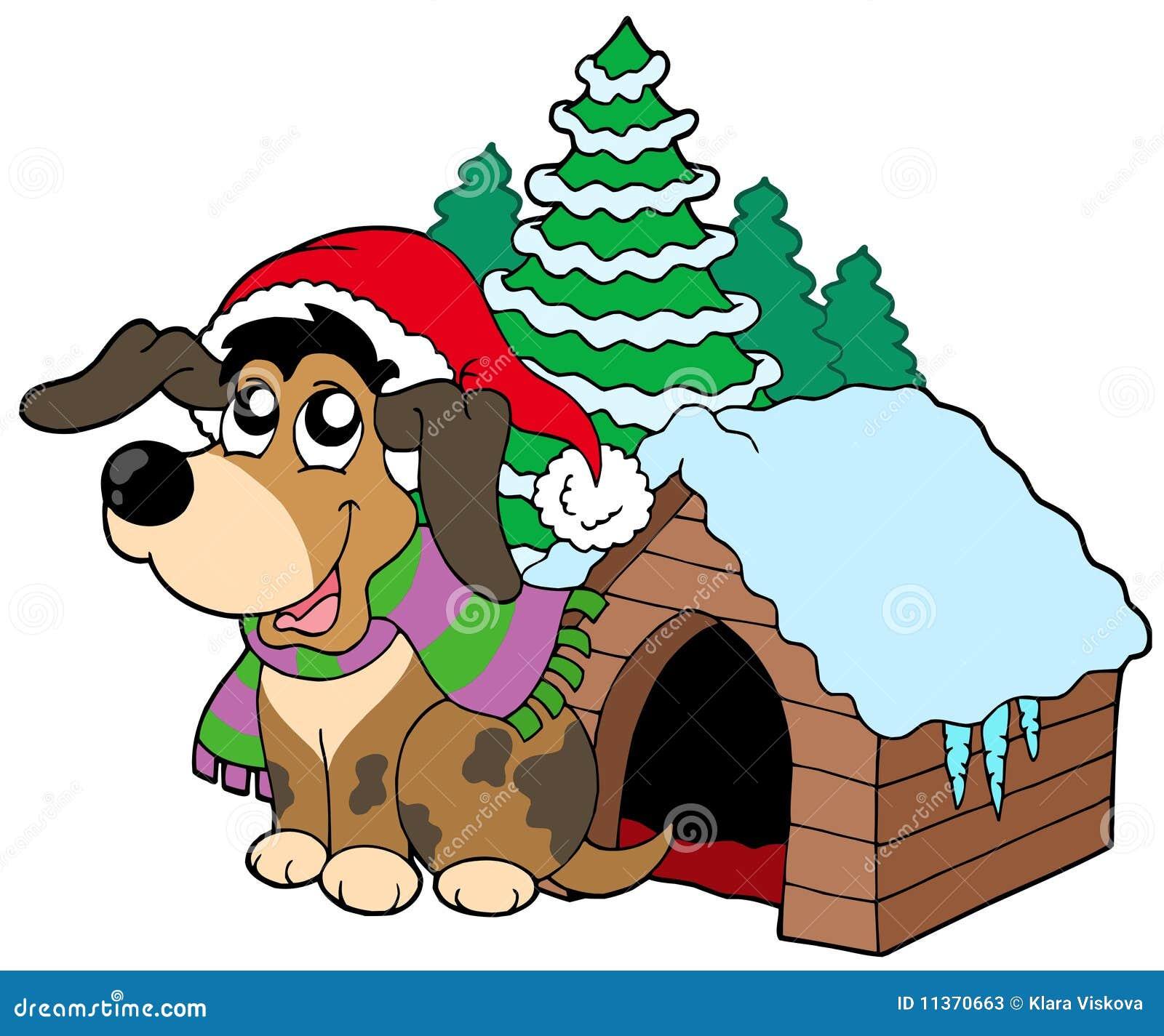 Netter Weihnachtshund vektor abbildung. Illustration von glücklich ...