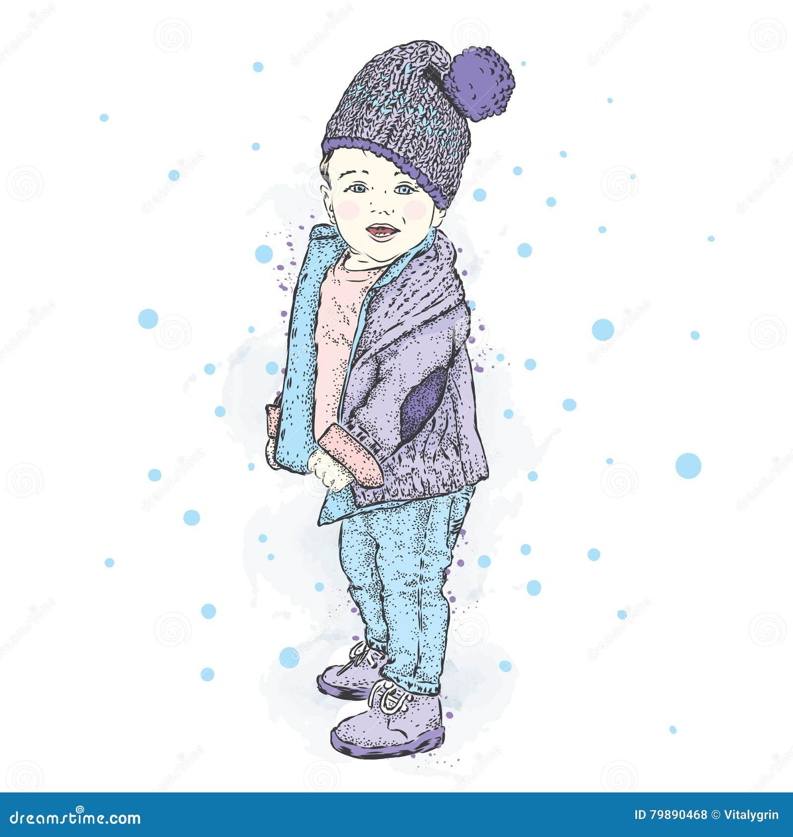 huge discount 28c1a 5190f Nettes Baby In Der Winterkleidung Ein Junge In Einer Jacke ...