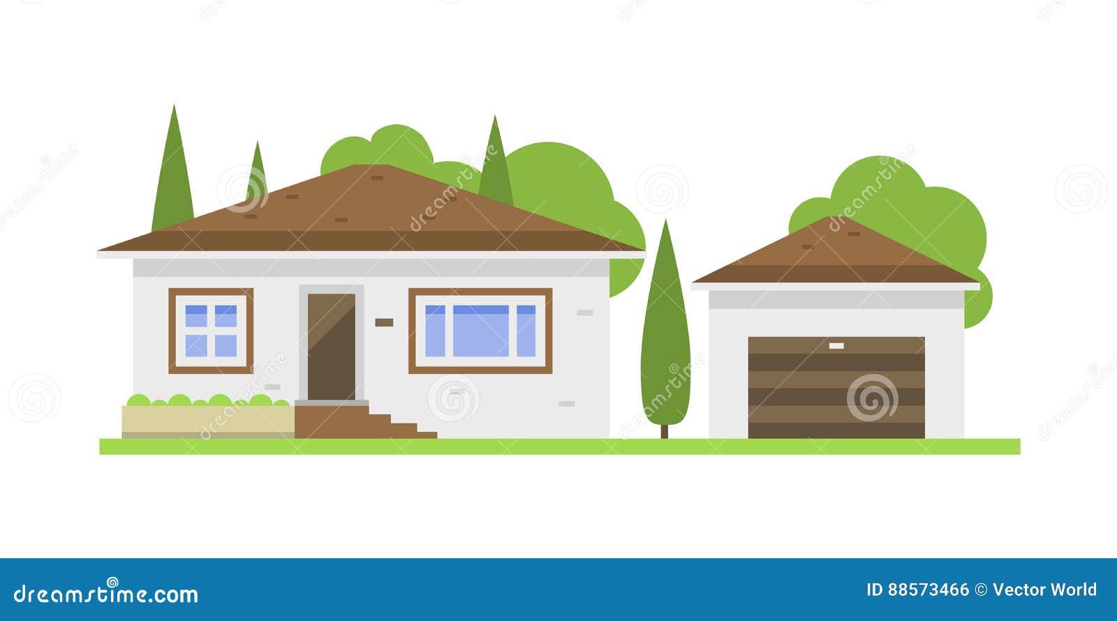 Nettes Buntes Flaches Immobilienhauschen Und Haus Des