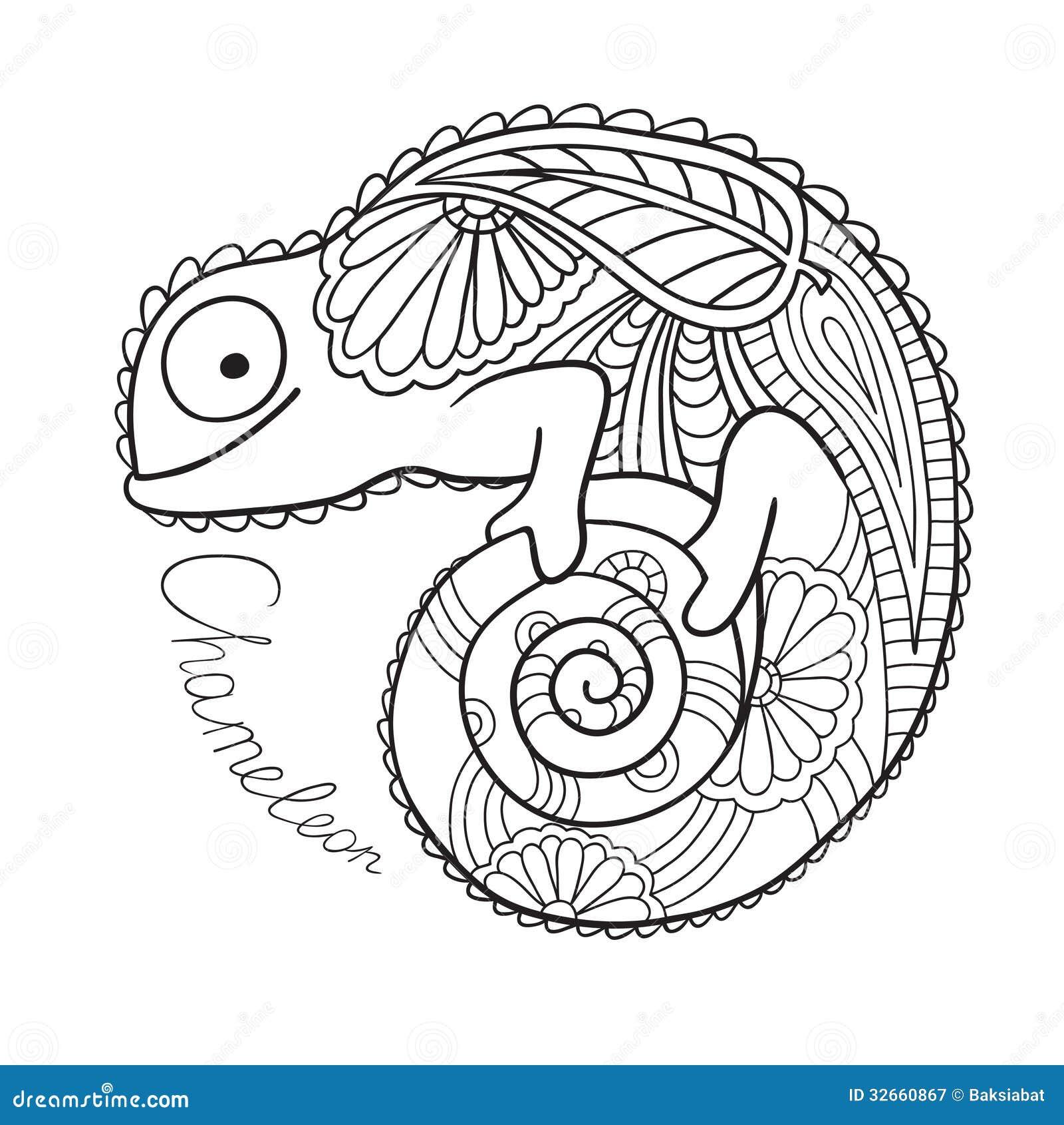 nettes chamäleon in der ethnischen art. vektor abbildung