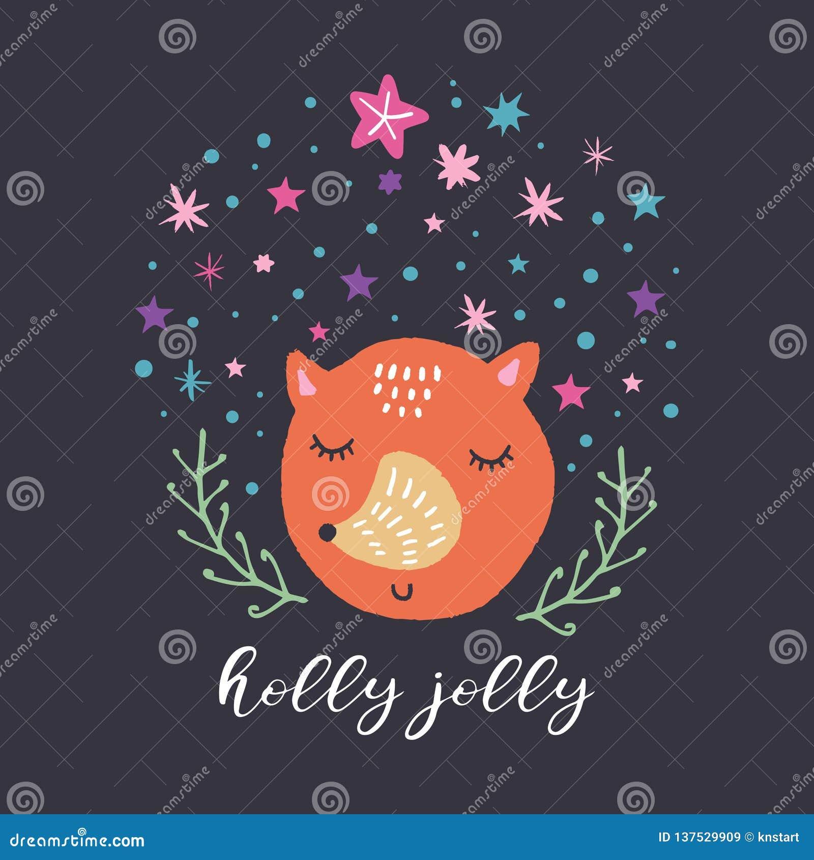 Nettes Fuchsgesicht des Vektors und Sternsatz Abbildung des Vektor eps10 Kindertagesstättenfeiertagsillustration