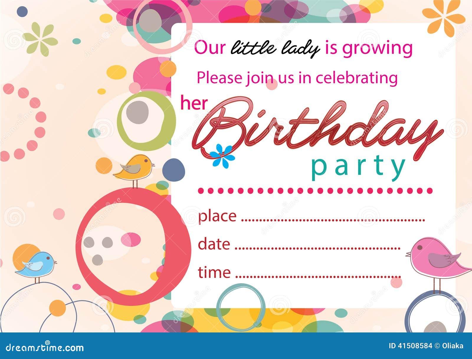 Nettes Geburtstagseinladung Mädchen Keine 2 Stock Abbildung - Bild: 41508584