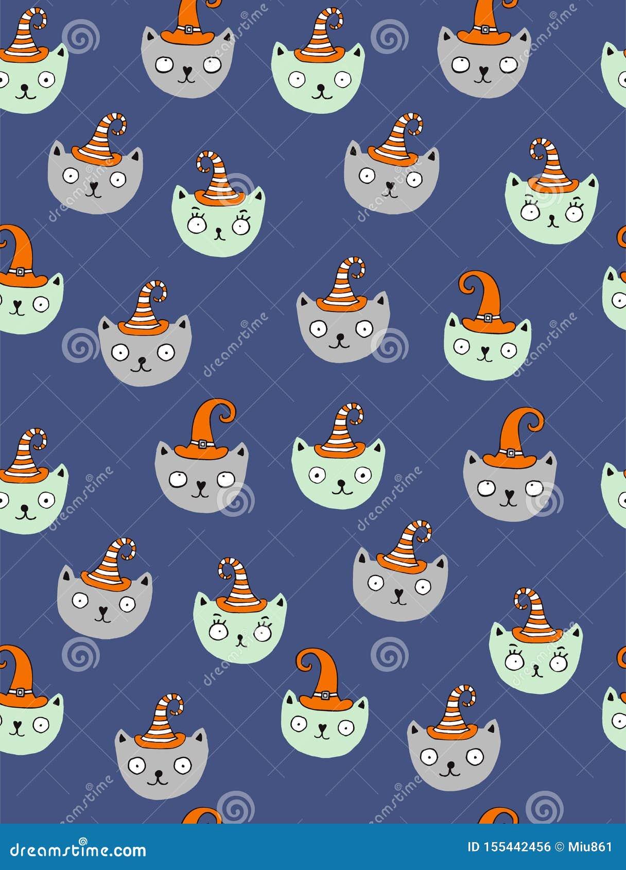 Nettes Halloween-Vektor-Muster mit Wicht-Katzen