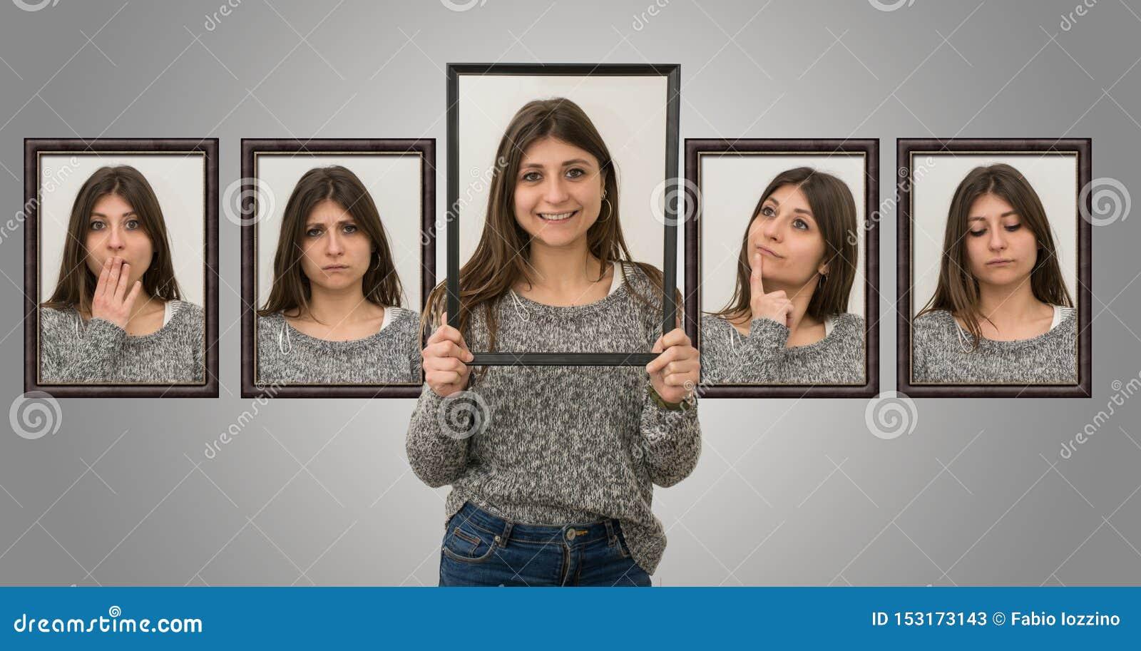 Nettes junges Mädchen zeigt verschiedene Gesichtsausdrücke, als ob sie innerhalb eines Bildes war Konzept von verschiedenen Gef?h