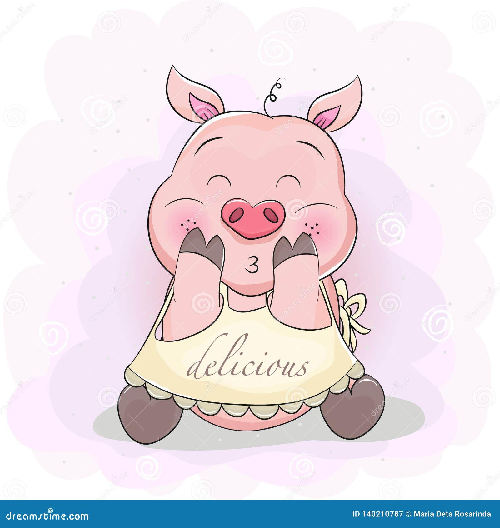 Nettes Karikaturschwein mit Schutzblech