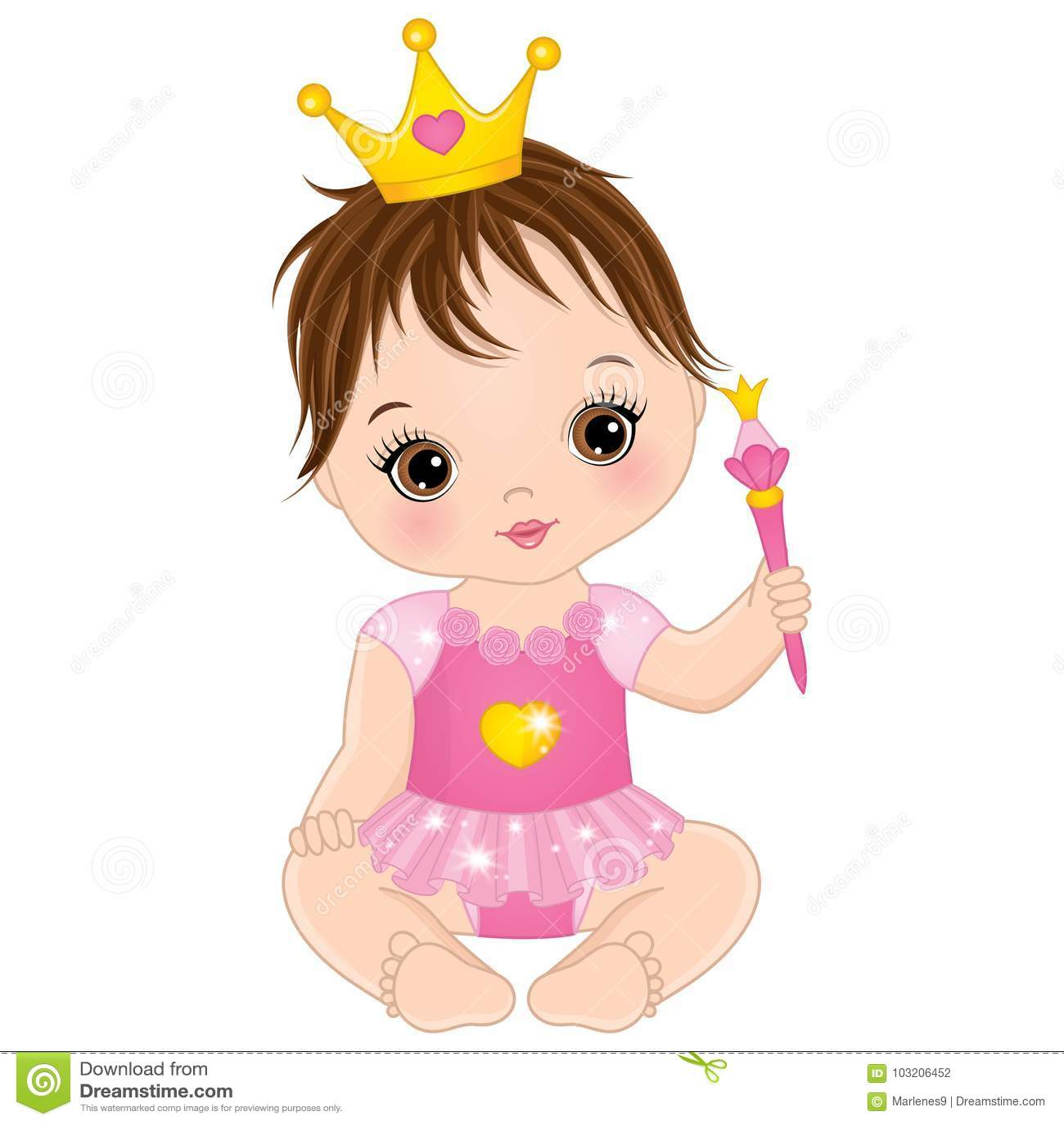 Nettes kleines Baby des Vektors gekleidet als Prinzessin