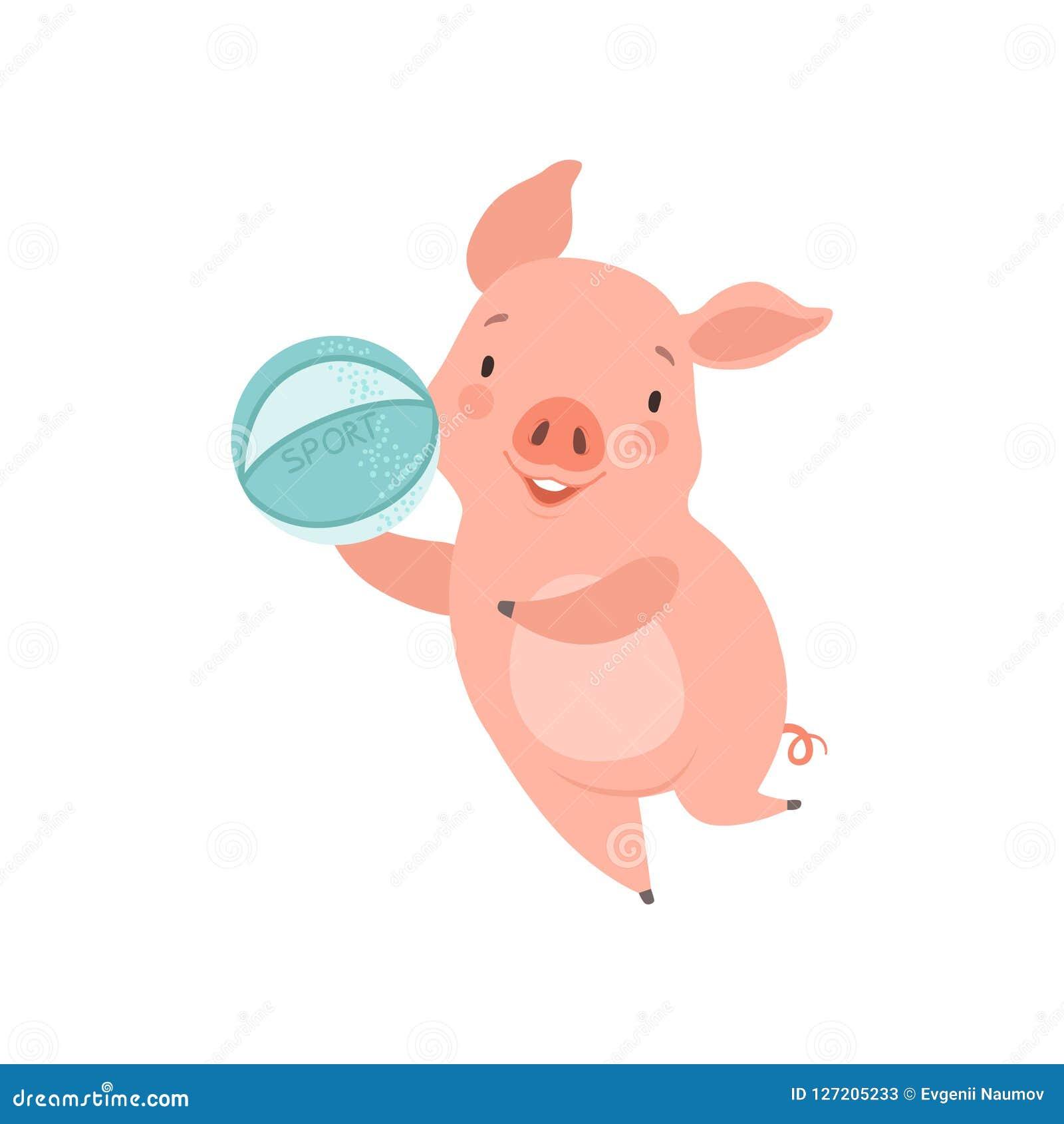 Nettes kleines Schwein, das mit Ball, lustige Ferkelzeichentrickfilm-figur hat Spaßvektor Illustration auf einem weißen Hintergru