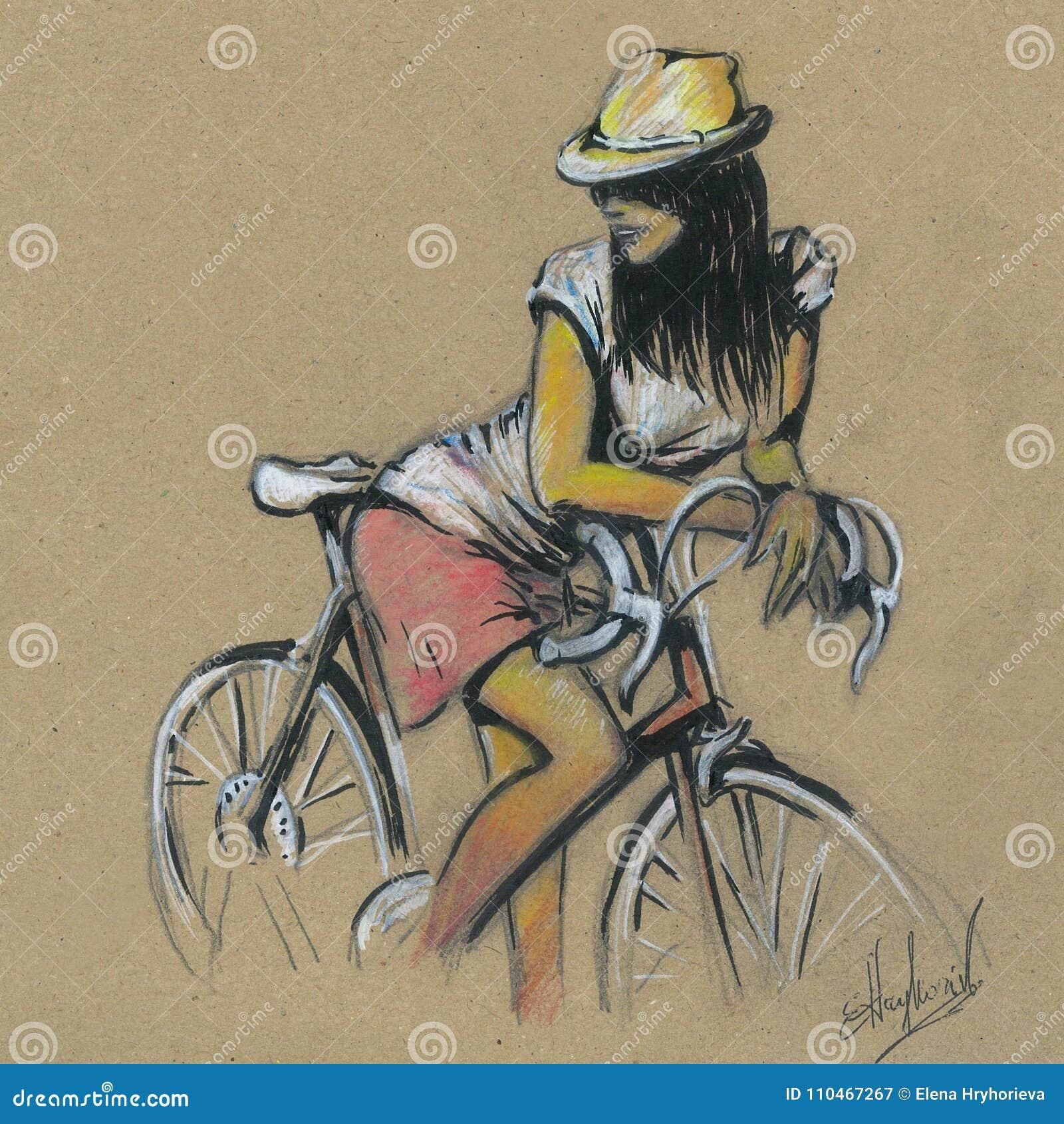 Nettes Madchen Auf Einem Fahrrad Eigenhandig Zeichnen Stock