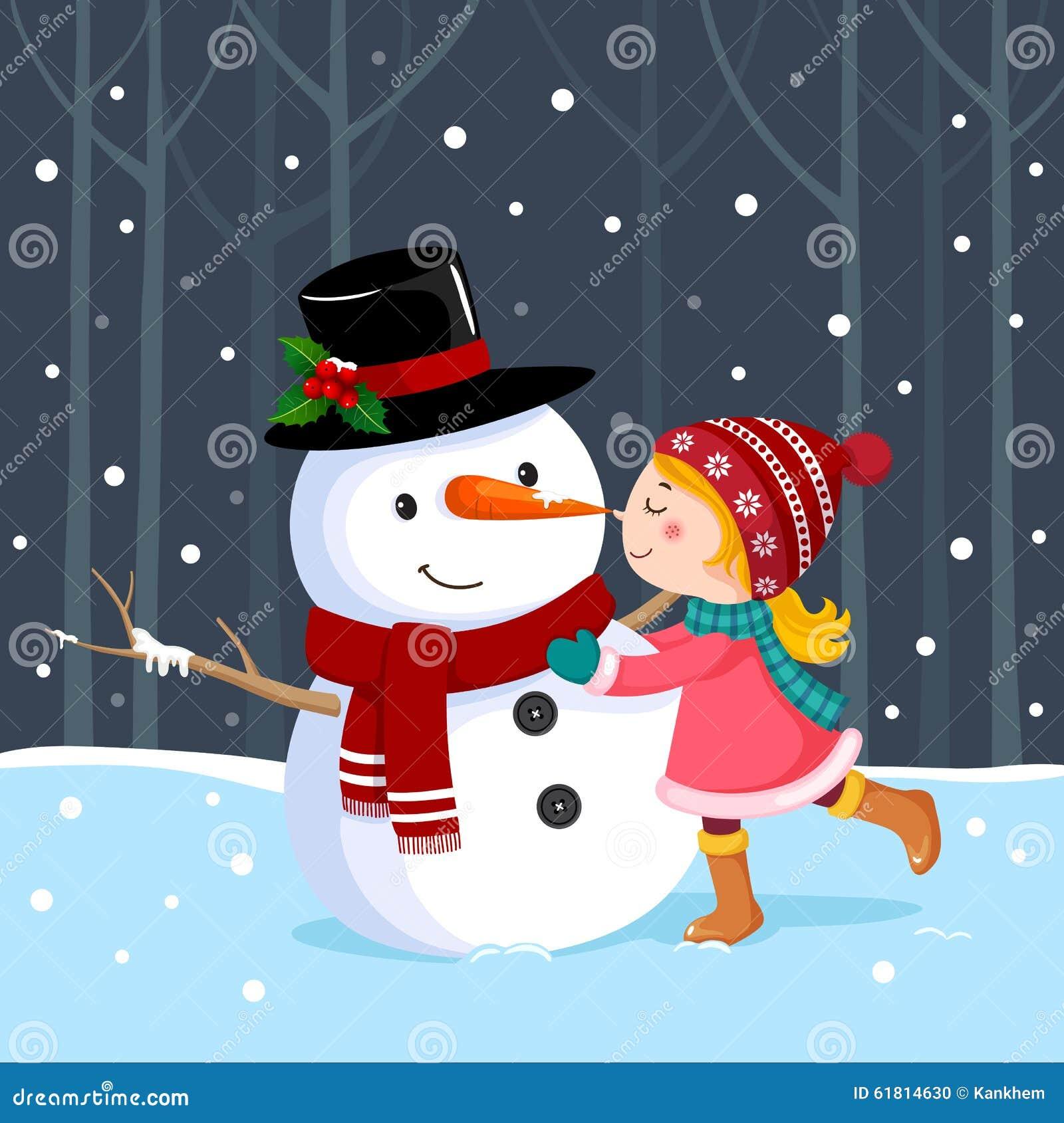 Nettes Mädchen, das einen Schneemann küsst