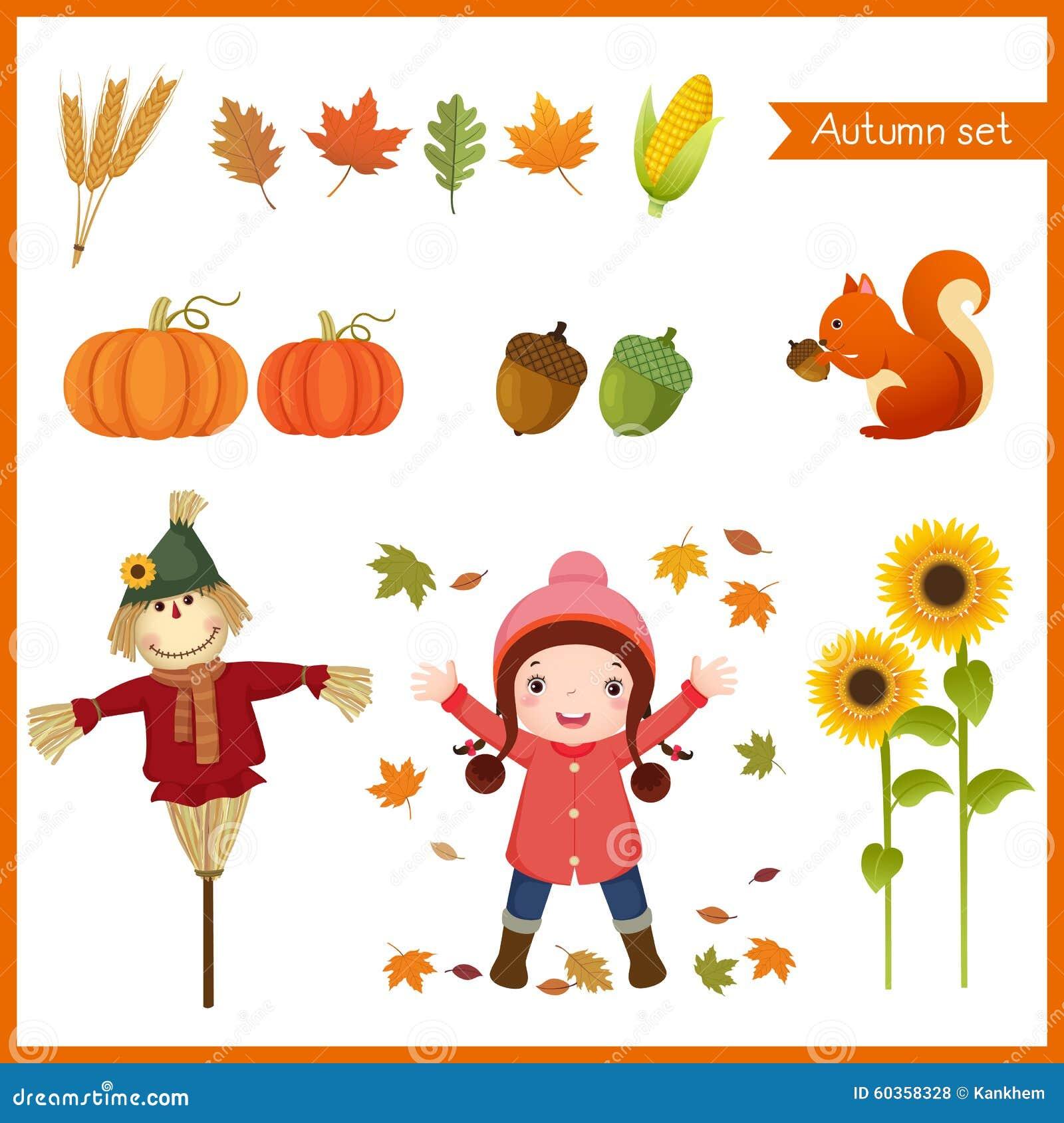 Nettes Mädchen und Sammlung für Herbst