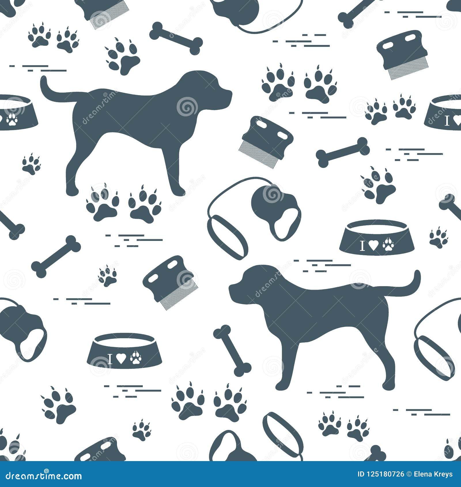 Nettes nahtloses Muster mit Hundeschattenbild, Schüssel, Spuren, Knochen, b