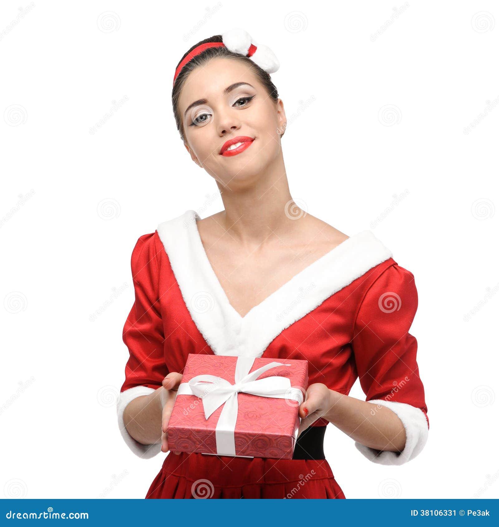 Nettes Retro- Mädchen, Das Weihnachtsgeschenk Hält Stockbild - Bild ...