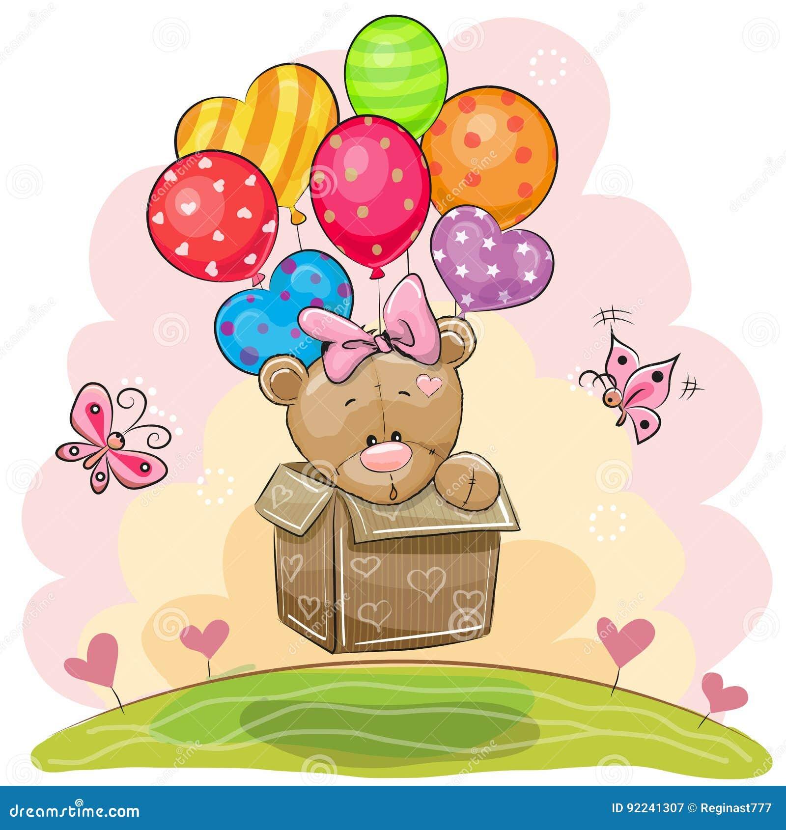 Nettes Teddy Bear-Mädchen mit Ballonen
