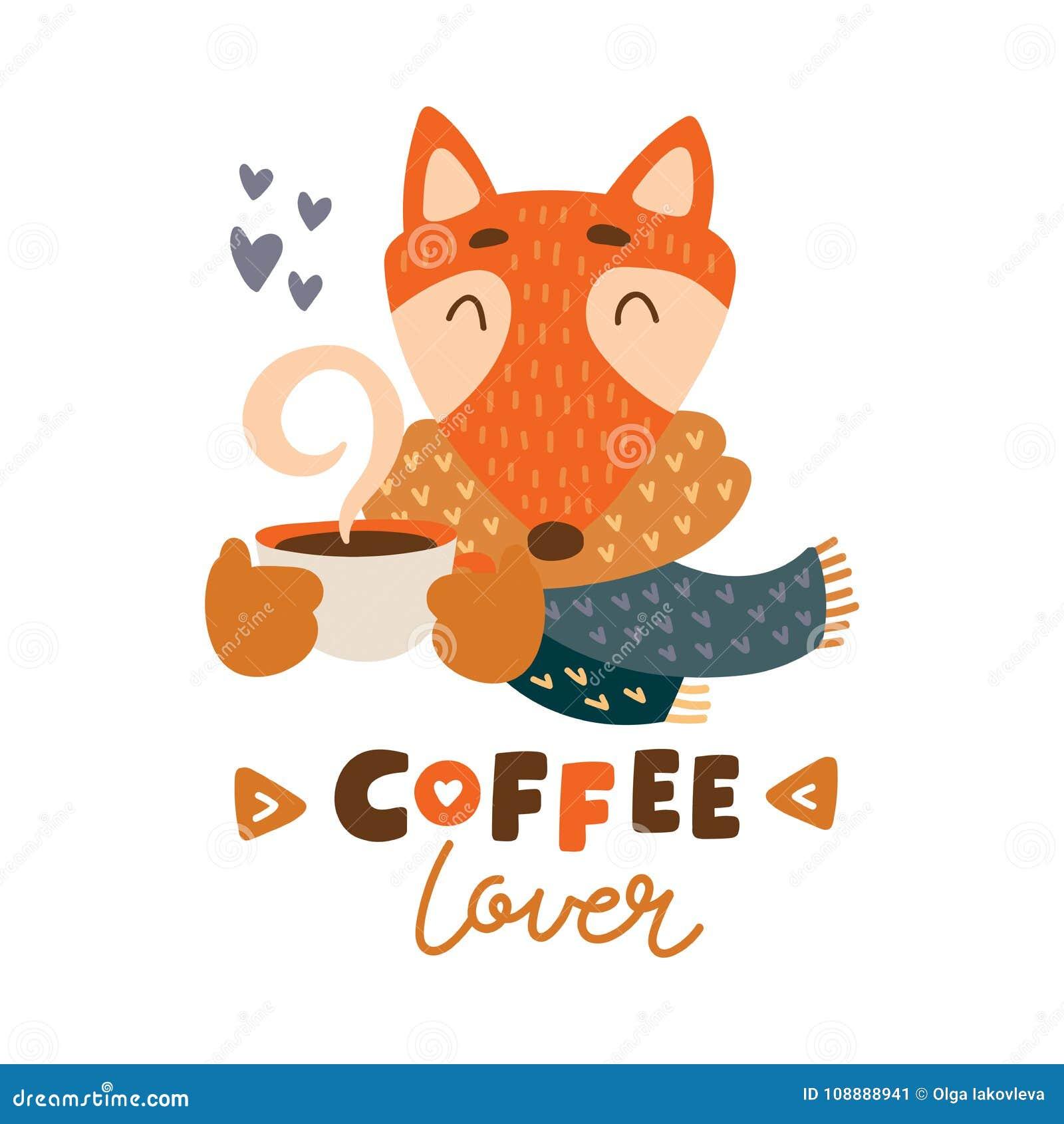 Nettes Tier mit bunter Illustration des Kaffeetasse-Vektors Reizender Fuchs im Schal mit heißer Getränkschale des Kaffees