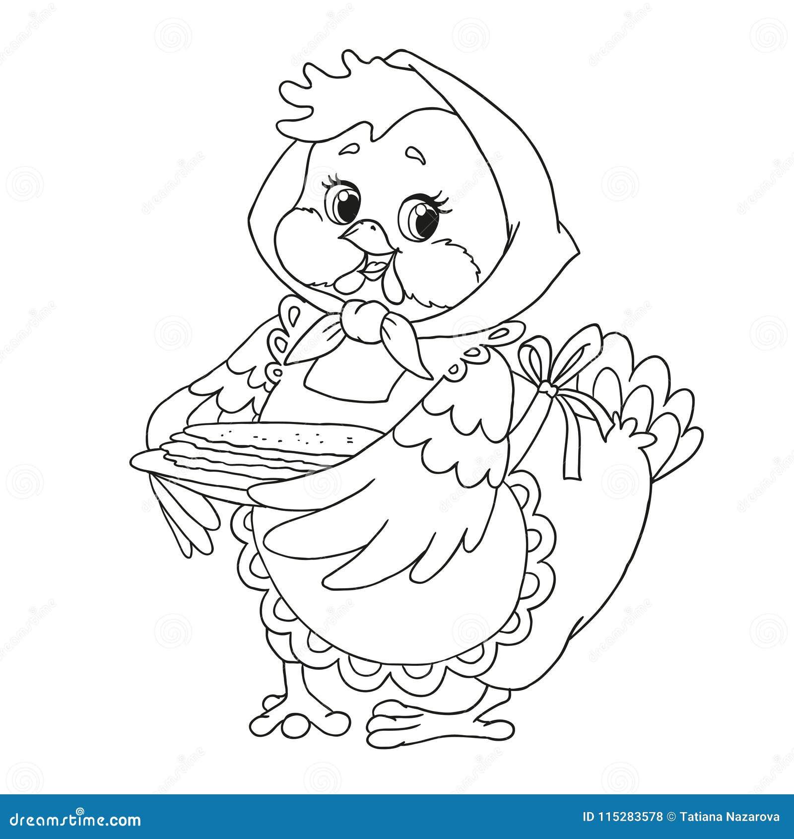Nettes Zeichentrickfilm-Figur-Huhn Großmutter Mit Pfannkuchen Vektor ...