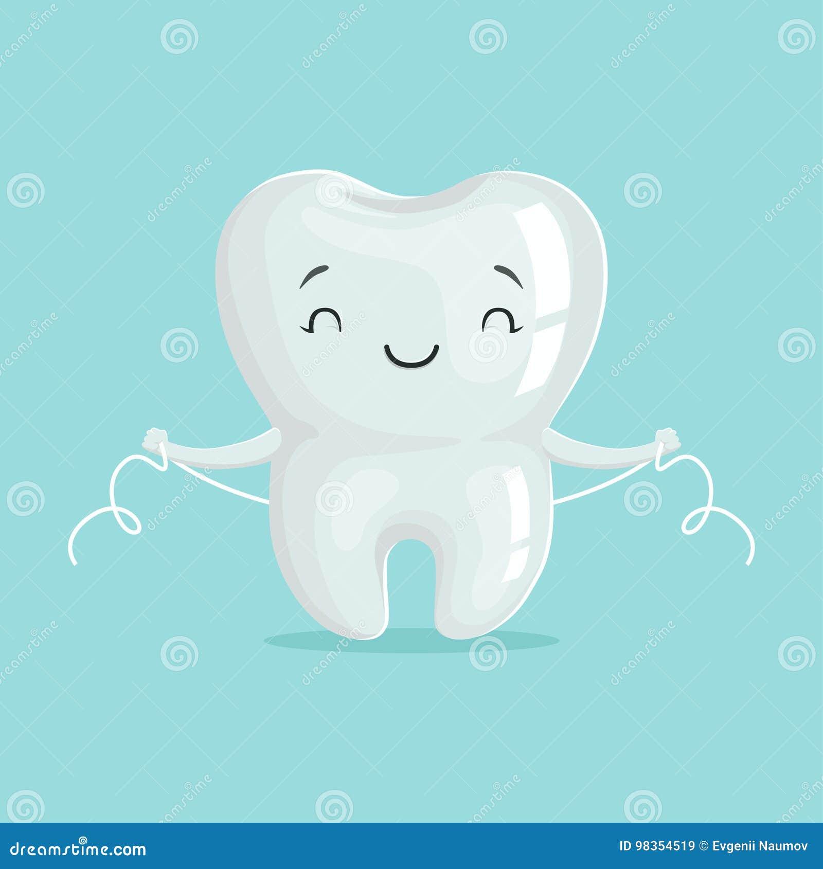 Nettoyage blanc sain mignon de caractère de dent de bande dessinée lui-même avec le fil dentaire, hygiène dentaire orale, l art d