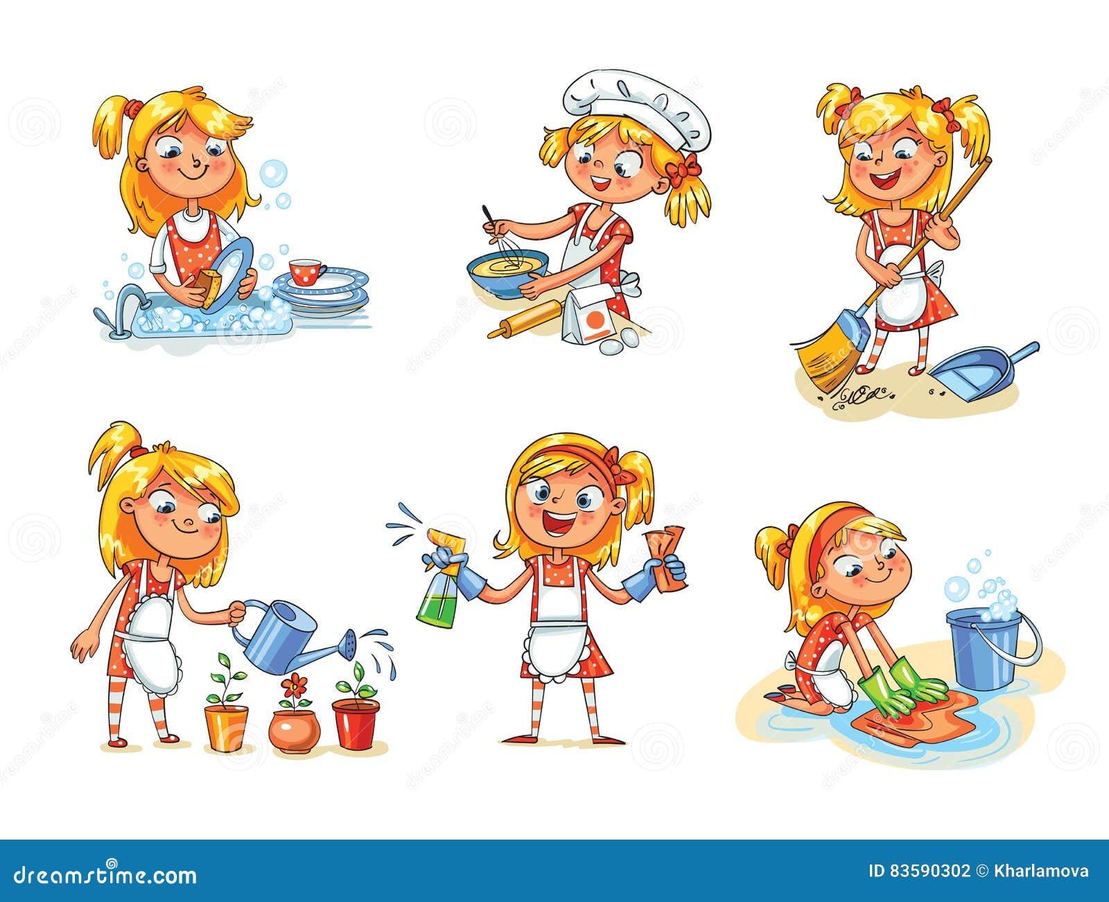 Nettoyage de chambre la fille est occup e la maison for 7 a la maison personnage