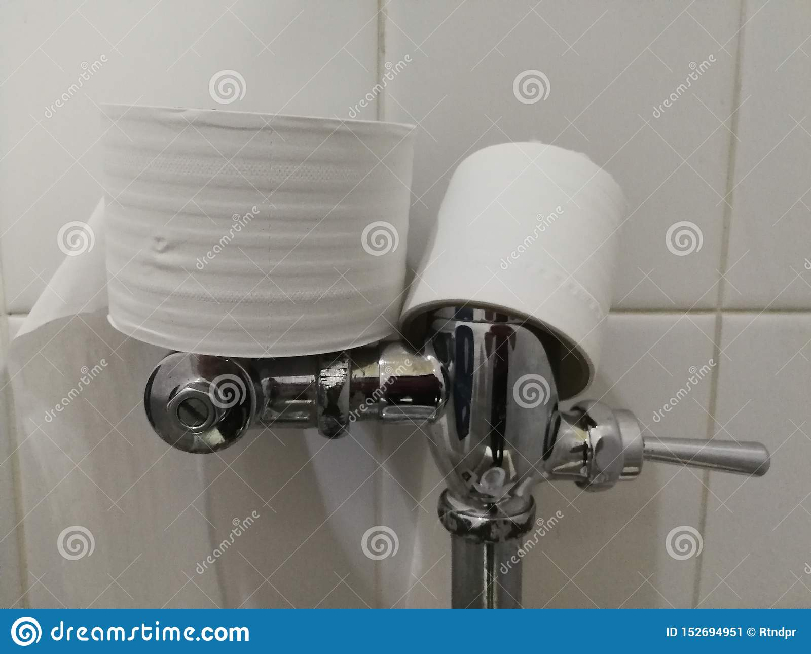 Nettoyage de papier hygiénique dans la salle de bains, placée sur la toilette, faite d acier inoxydable