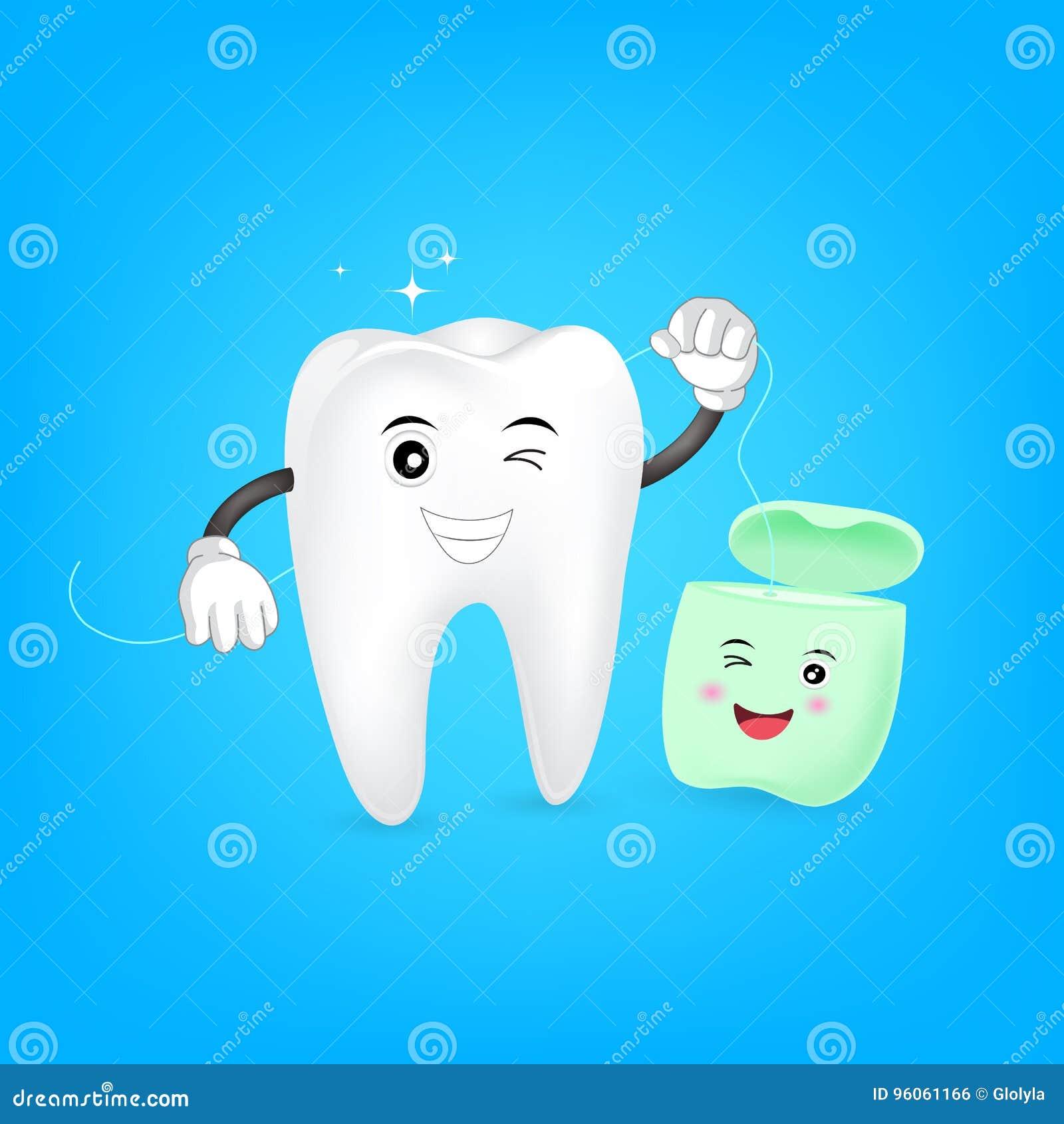 Nettoyage mignon de dent de bande dessinée lui-même par le fil dentaire