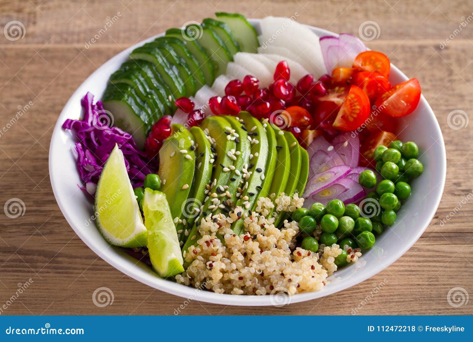 Nettoyez la consommation saine de detox Cuvette de déjeuner de Vegan et de végétarien Quinoa, avocat, grenade, tomates, pois, rad