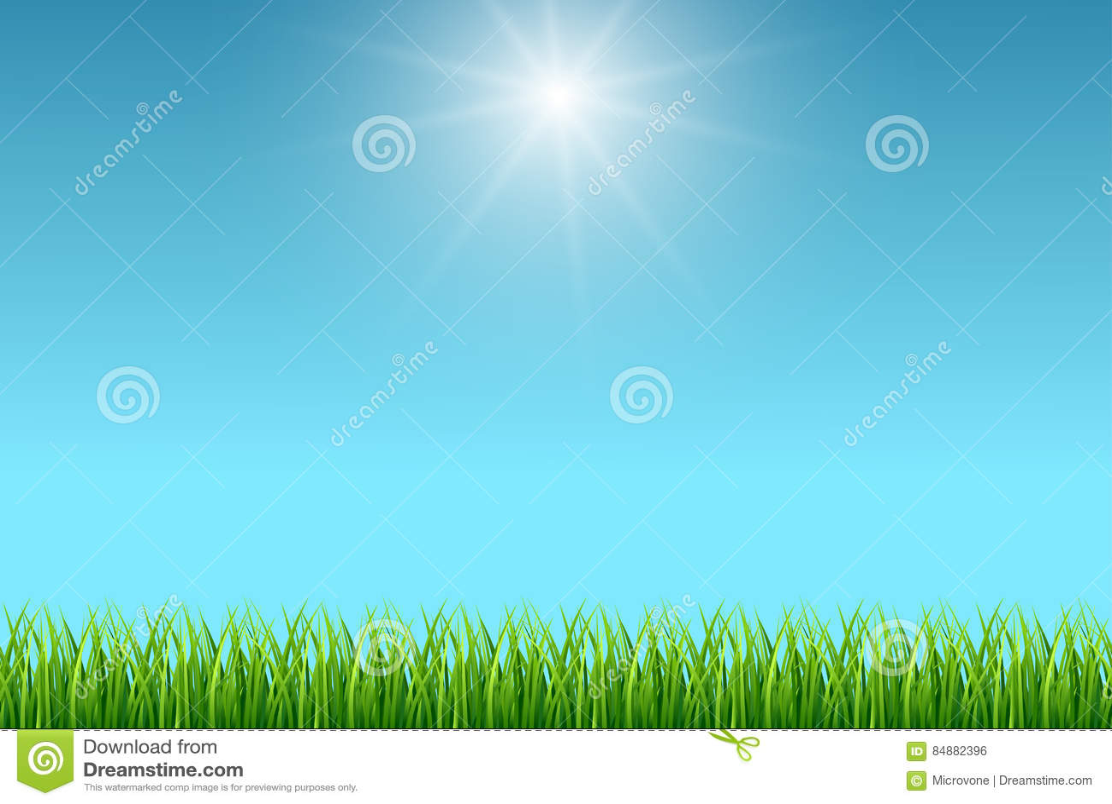 Nettoyez le fond de vecteur de ciel bleu et d herbe verte