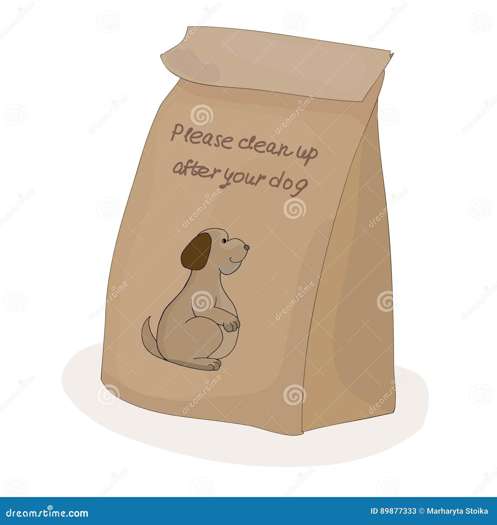 Nettoyez svp après votre animal familier Paquet de papier pour la merde Chien de vecteur
