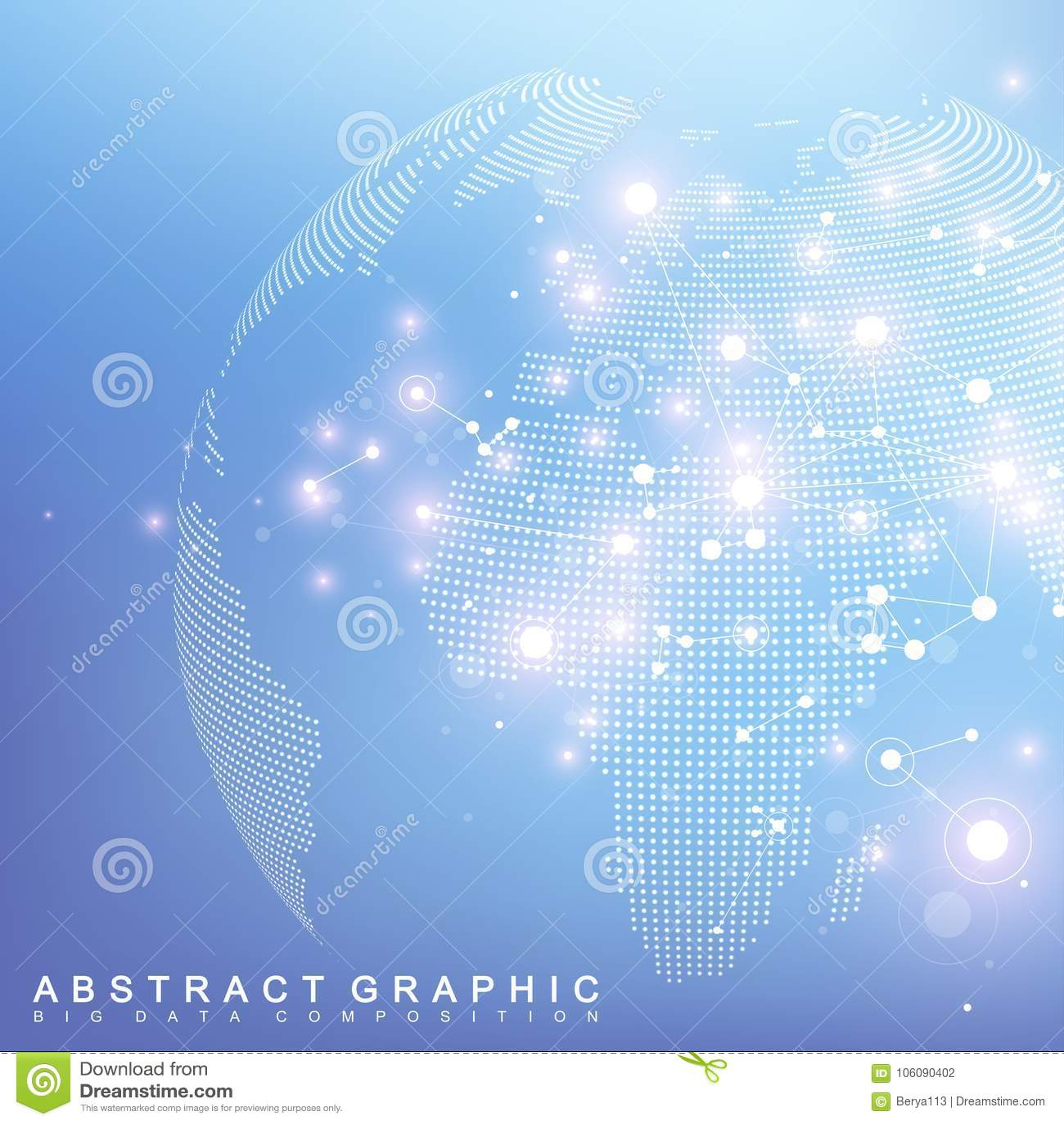 Netwerk en gegevensuitwisseling over aarde in ruimte Virtuele Grafische Communicatie Als achtergrond met Wereldbol