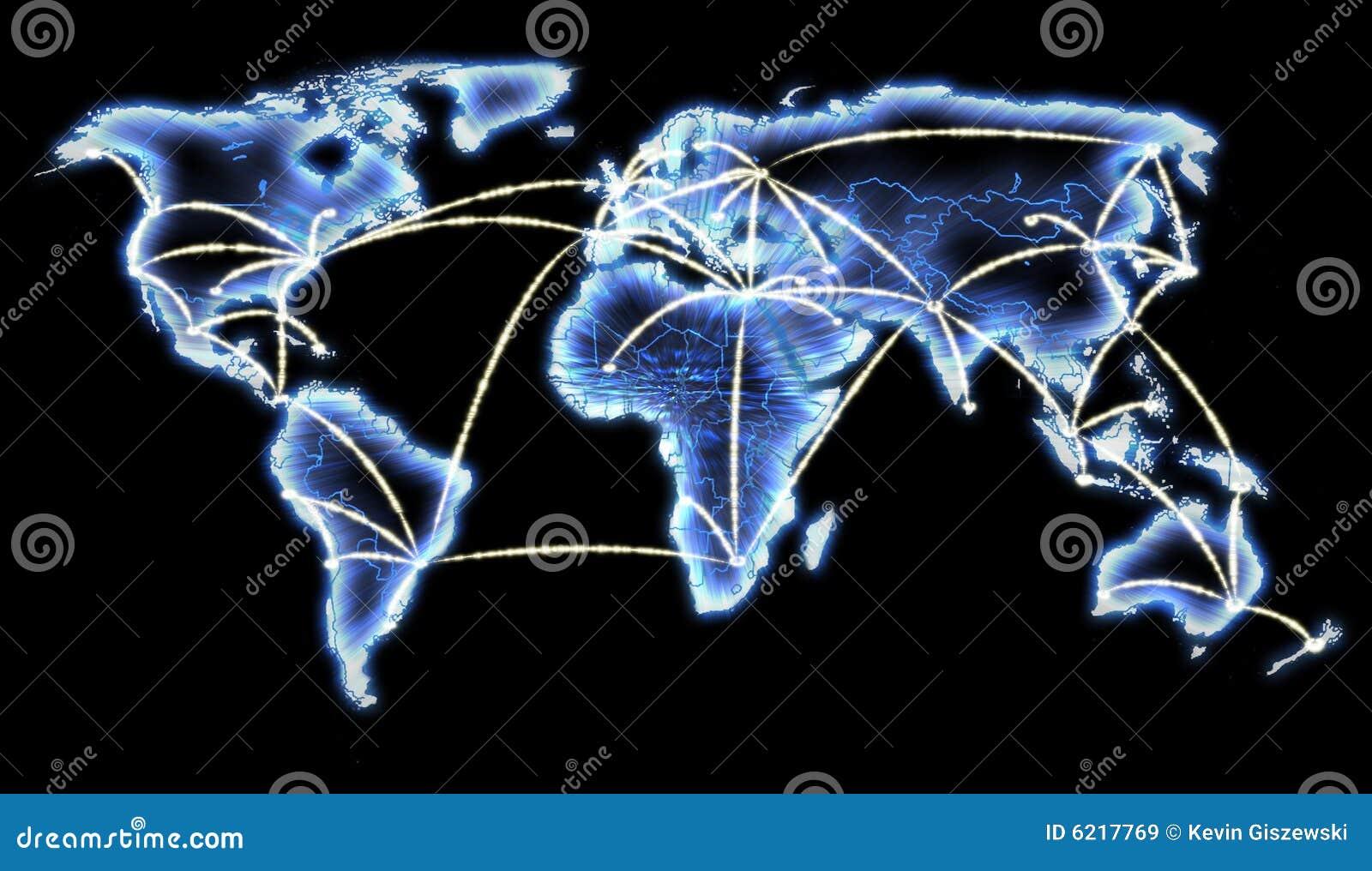 Netwerk het van de telecommunicatie kaart van de wereld van internet royalty vrije stock - Scherm thuis van de wereld ...