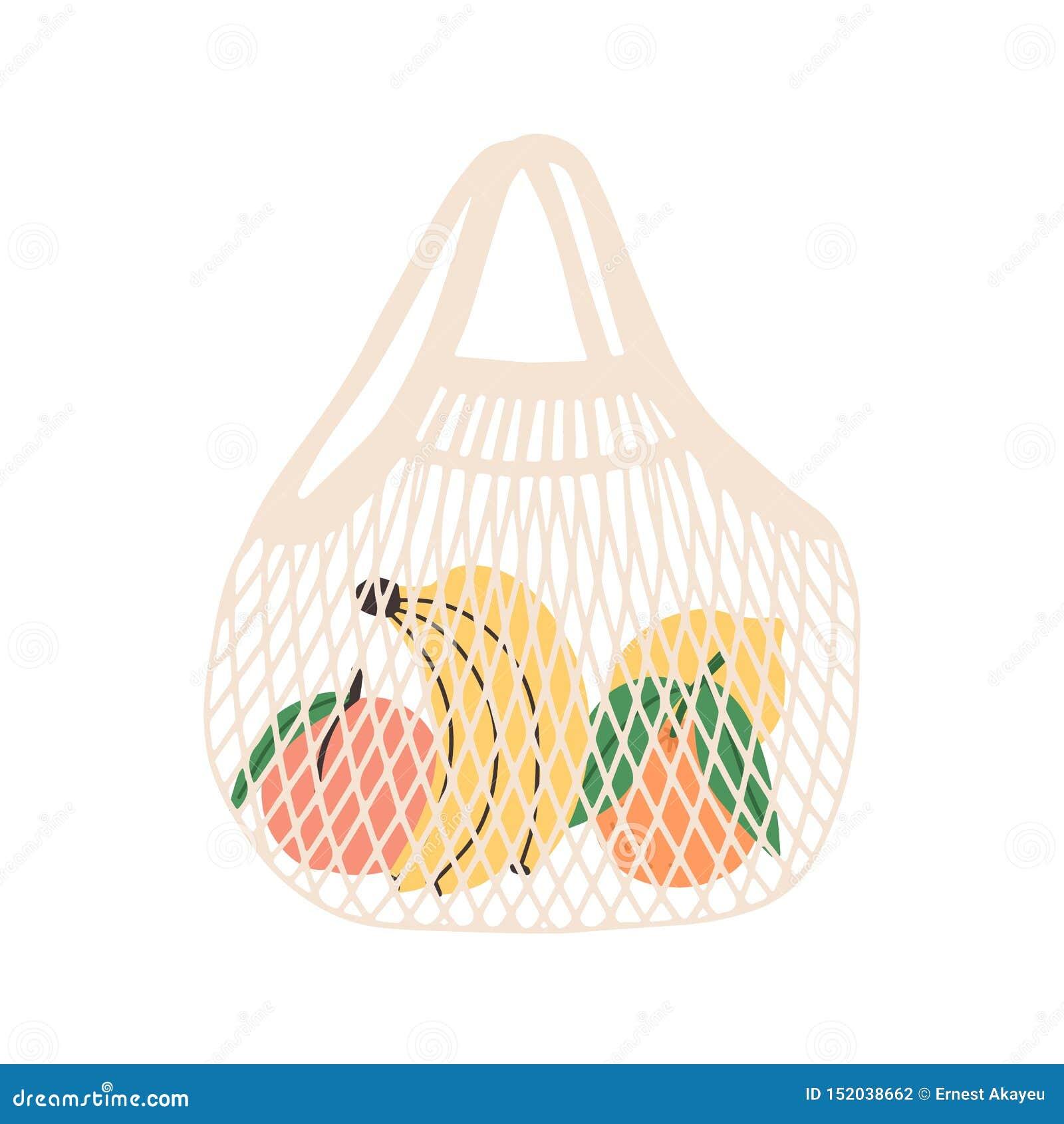 Netwerk of netto zakhoogtepunt van vruchten dat op witte achtergrond wordt geïsoleerd Moderne klant met verse organische bananen,