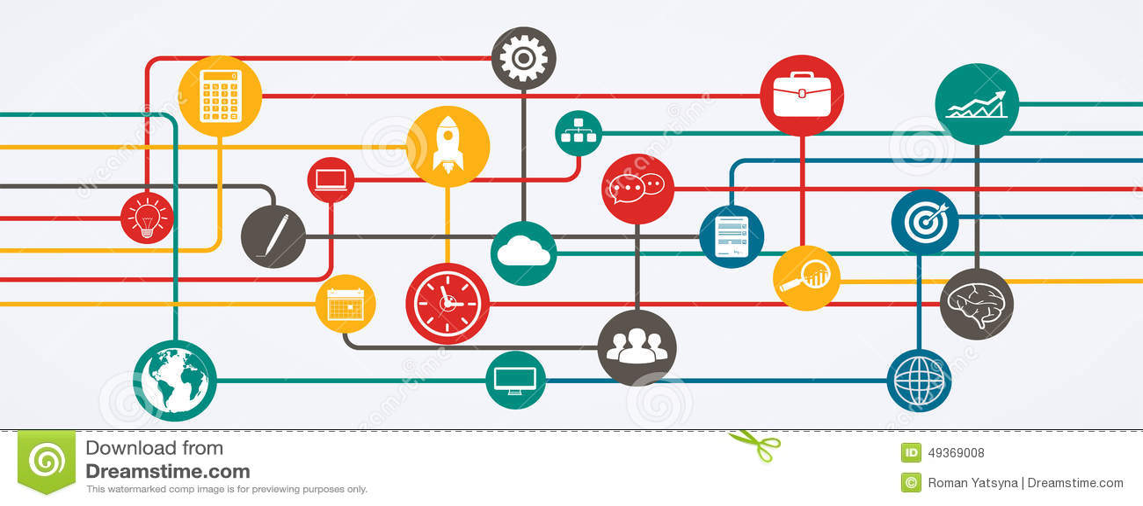 Netwerkverbindingen, informatiestroom met pictogrammen in horizontale positie