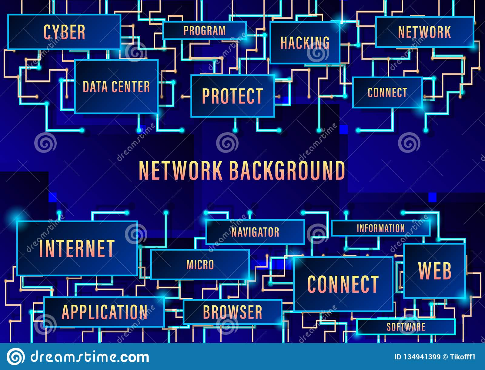 Network background, binary circuit board future technology, blue cyber security concept background, high speed digital internet.