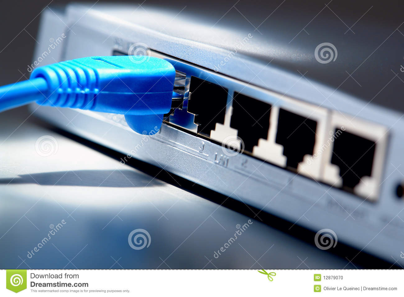 Network Cable On Computer Ethernet Router Hub Stock Photo