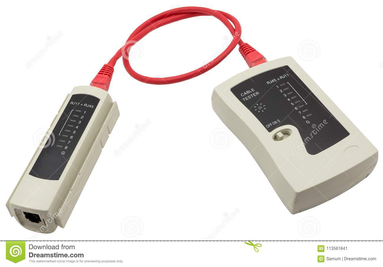 Network Cable Tester With Utp On A White Background Stock Lan