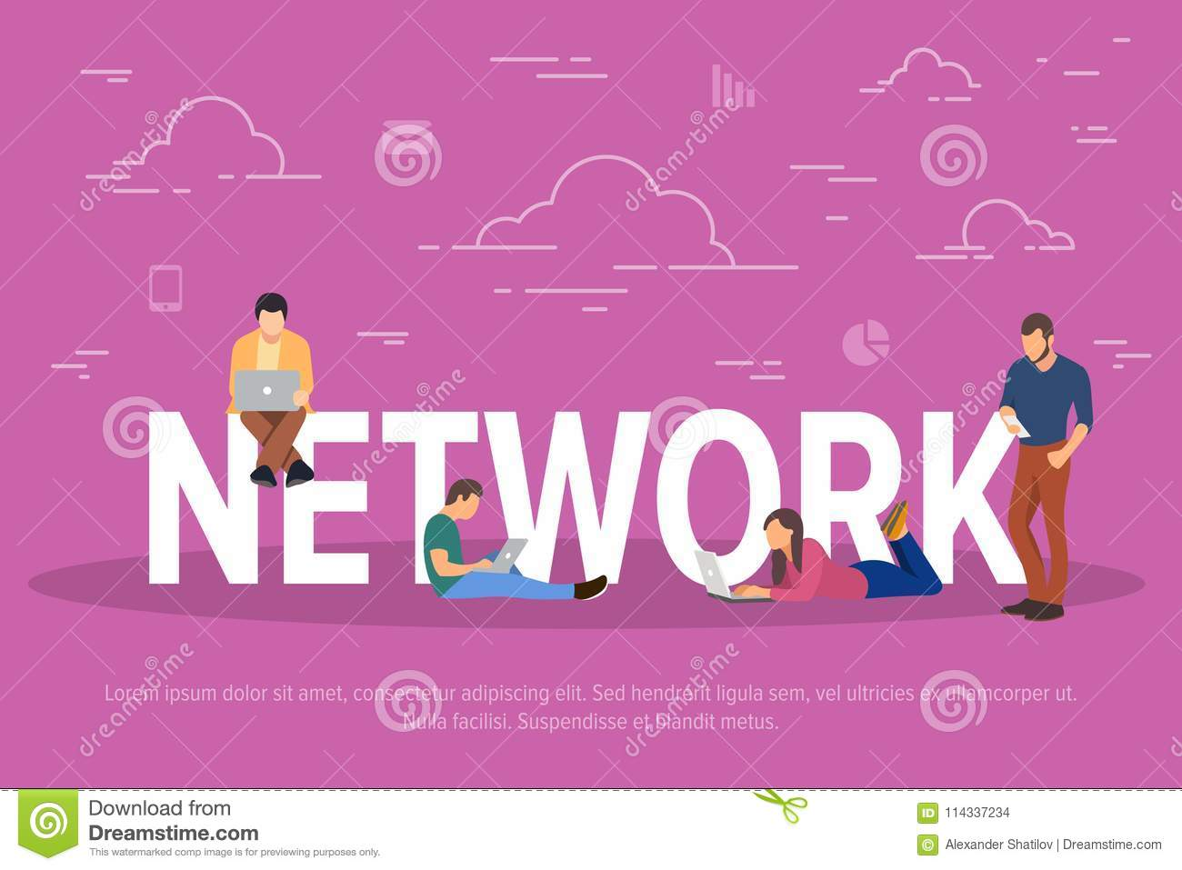 Network concept vector illustration. Business people using devices for work through the network. Flat concept of young