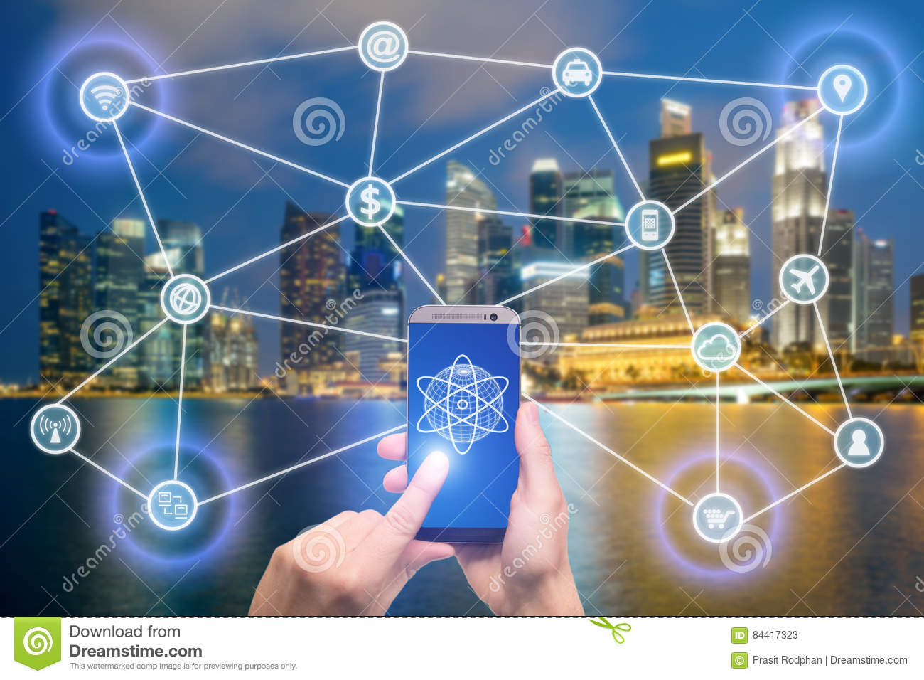 Network of connected mobile devices such as smart phone, tablet, thermostat or smart home. Internet of things and mobile