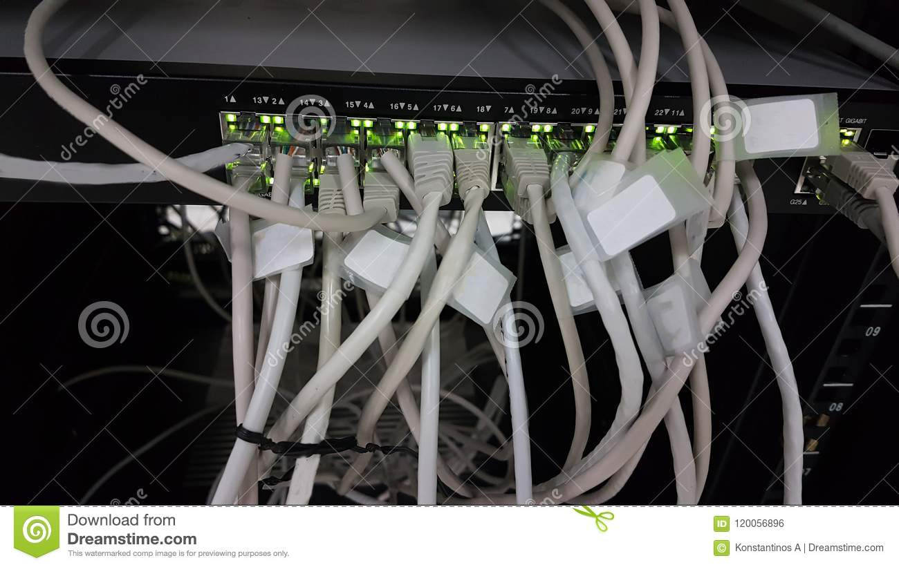 Network Connections Wires On Switch For Computer Internet Stock Wiring