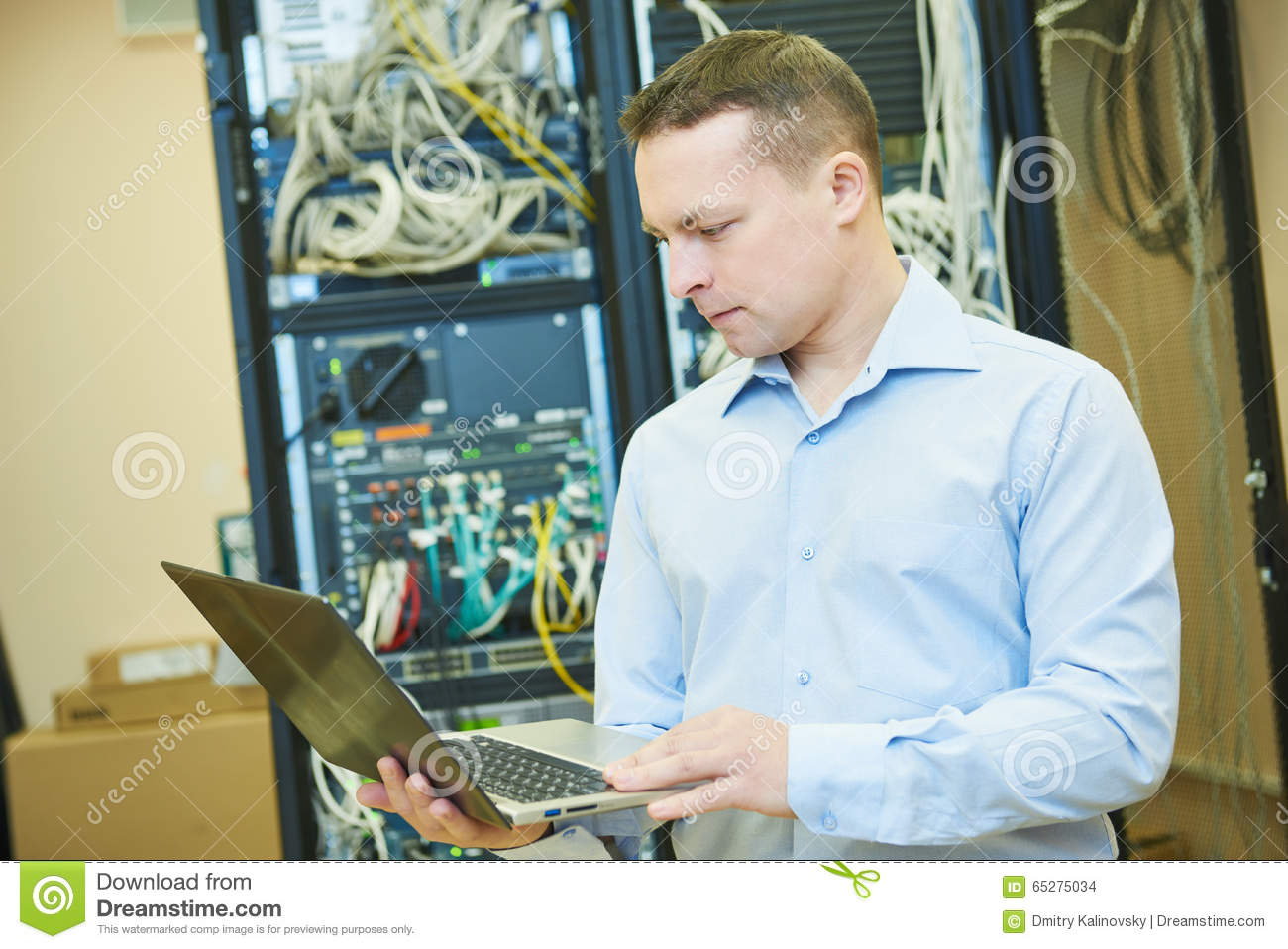 Network Engineer Admin At Data Center Stock Photo Image