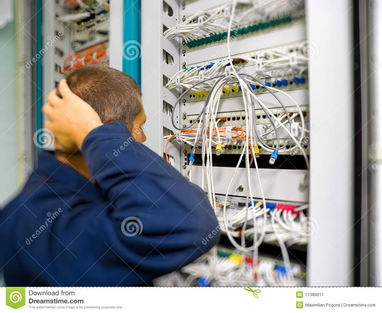Network Engineer Is Solving Communication Problem Stock