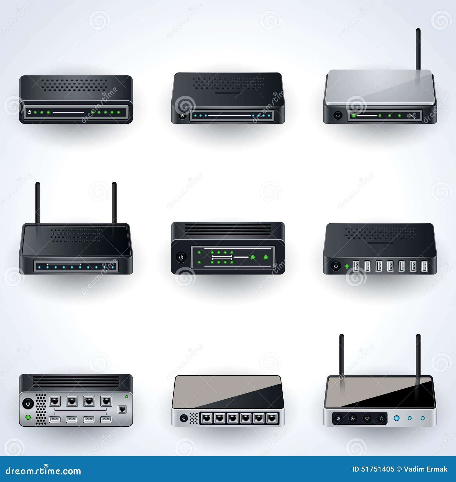 Network Equipment Icons : Network equipment icons stock vector illustration of