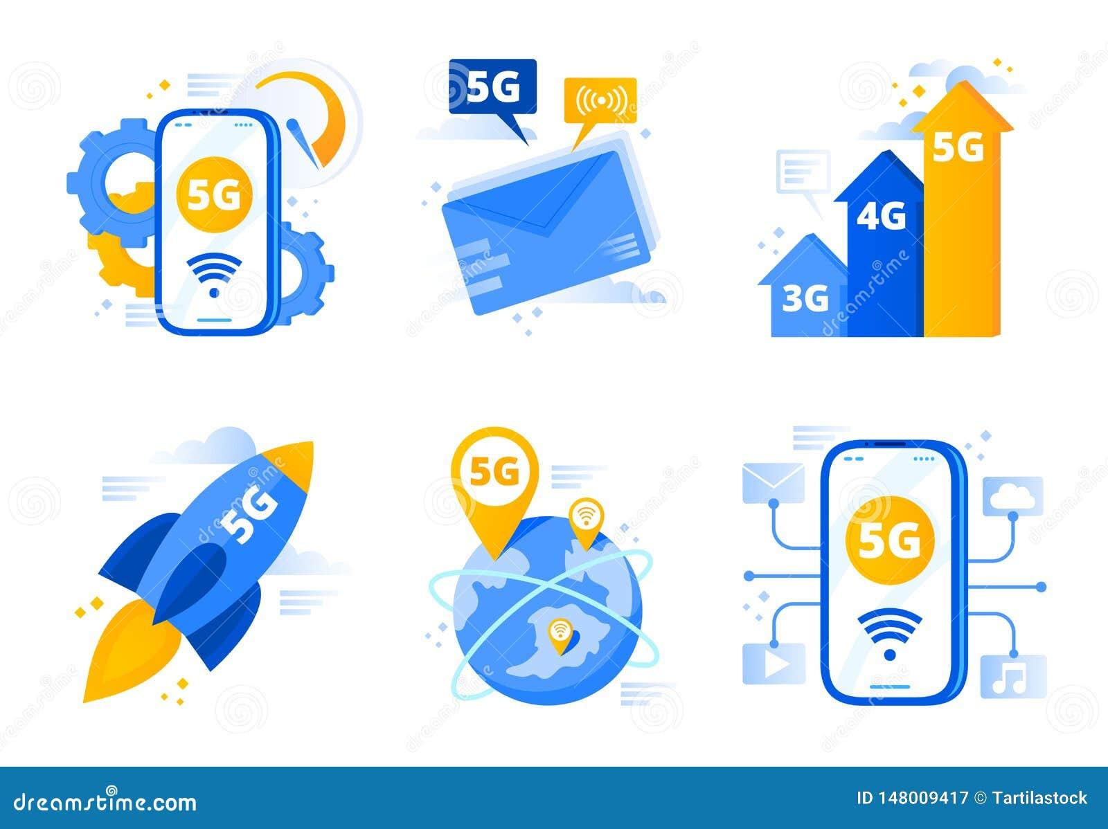 Network 5g. Fifth Generation Telecommunications, Fast ...