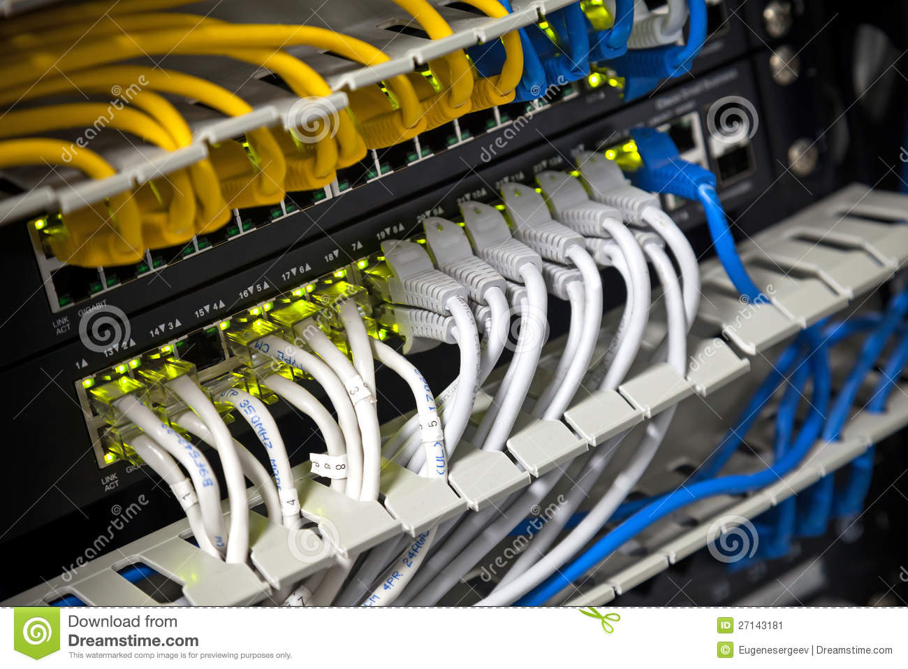 Network Hub And Connected Internet Cables Stock Image