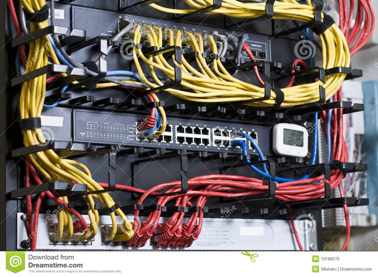 Network Hub And Patch Cables Stock Image Image 10186575