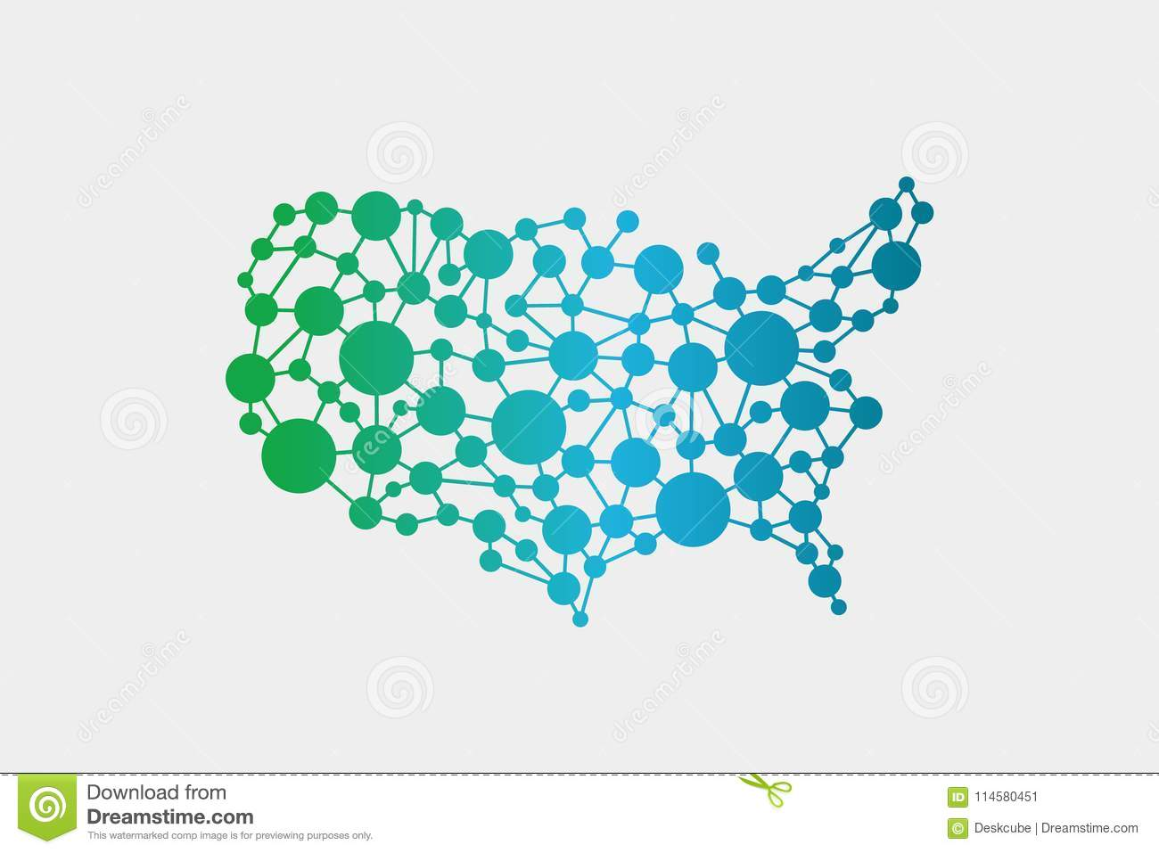 USA United States Network Map. Vector Graphic Design Stock Vector ...