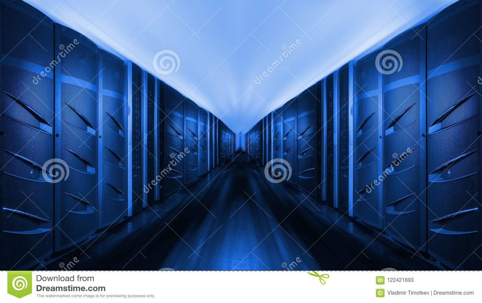 Network and internet communication technology concept, data center interior, server racks with telecommunication