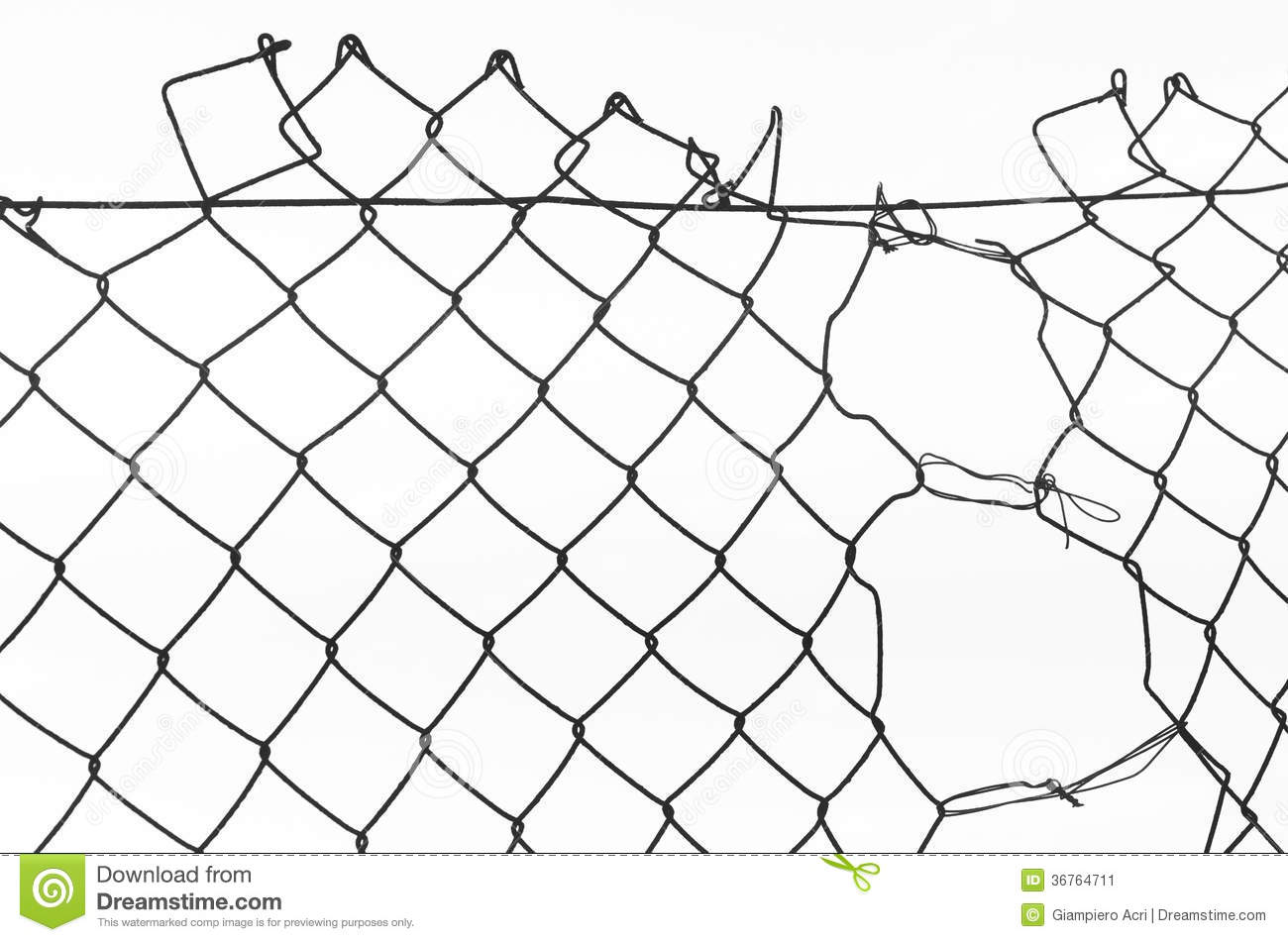 network of metal fence with a tear stock image