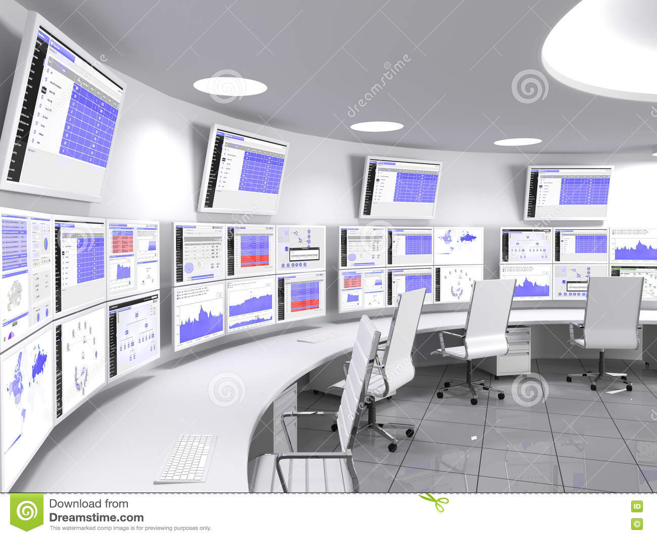 Network Operations Center White Stock Illustration